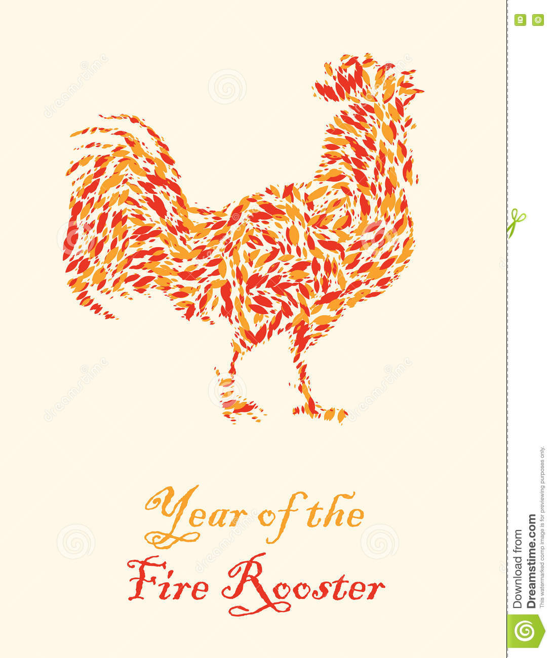 Chinese calendar for year of rooster 2017. - Symbol of New Year 2017 ...