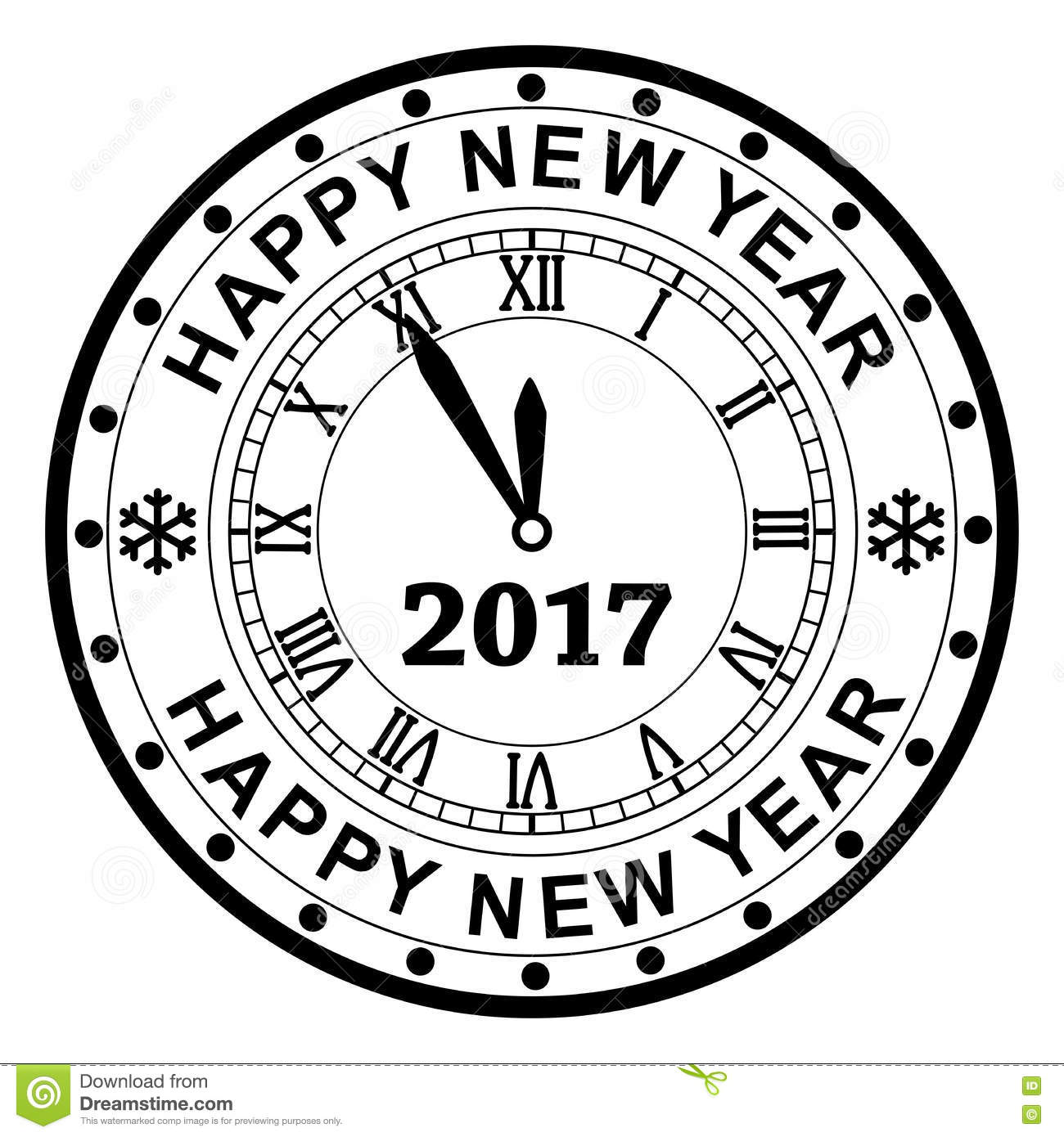 New Year 2017 Rubber Stamp Design With A Clock, Vector Stock Vector ...