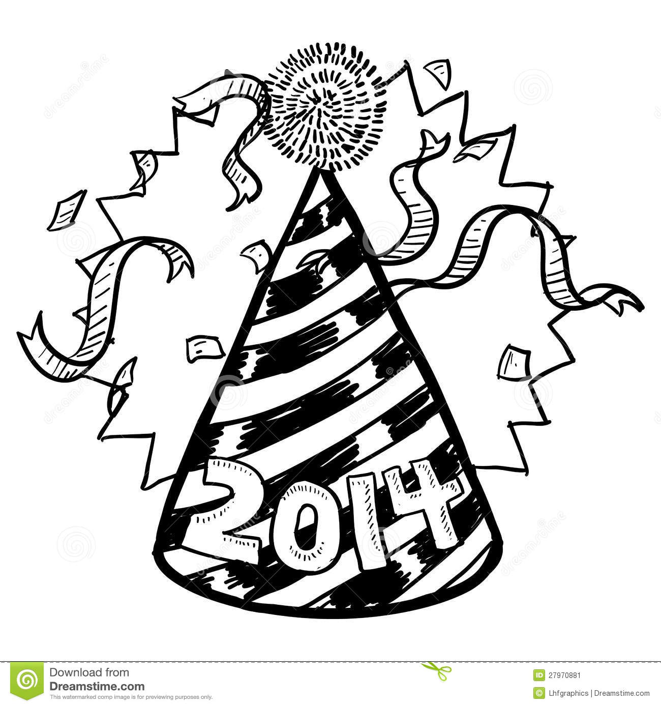 New Yearu0026#39;s 2014 Party Hat Sketch Stock Vector - Image 27970881