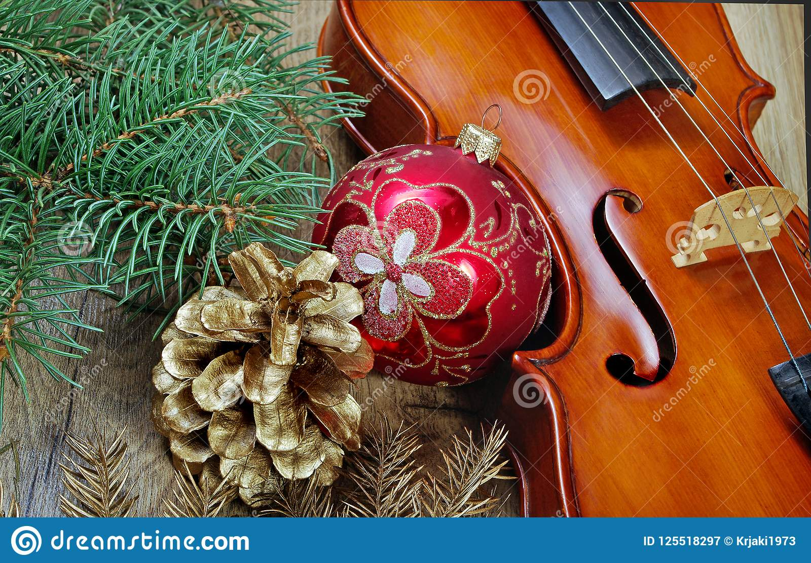 Christmas Violin.New Year Background New Year S Ball Violin Branches Of