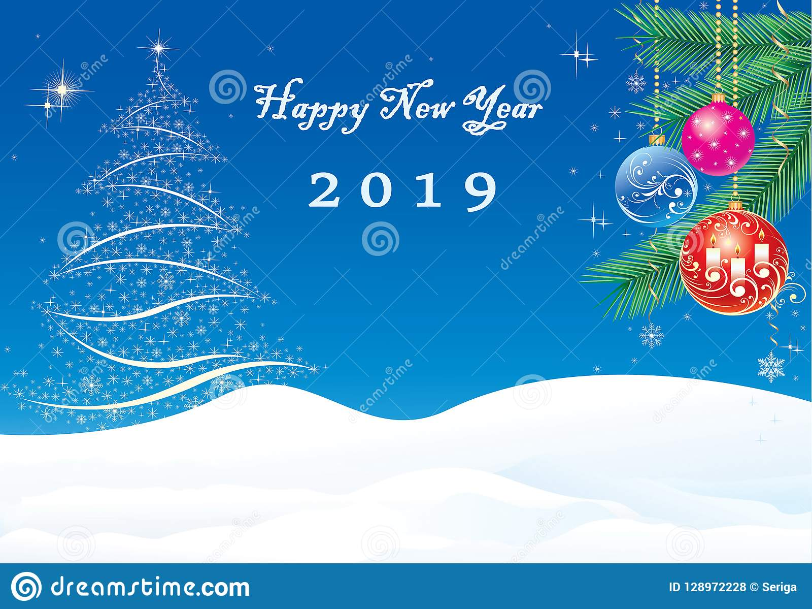 2019 happy new year christmas tree and balls on spruce branches