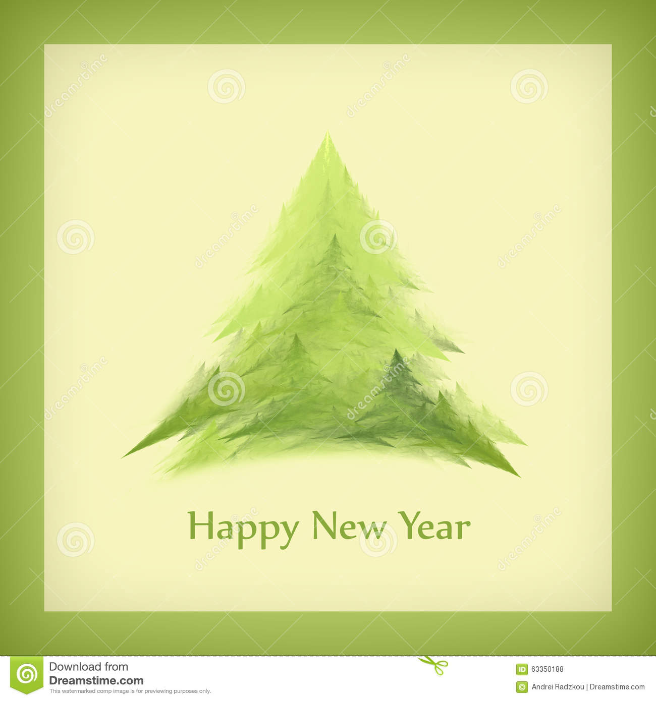 template of a square new years card with a christmas tree in a green frame raster