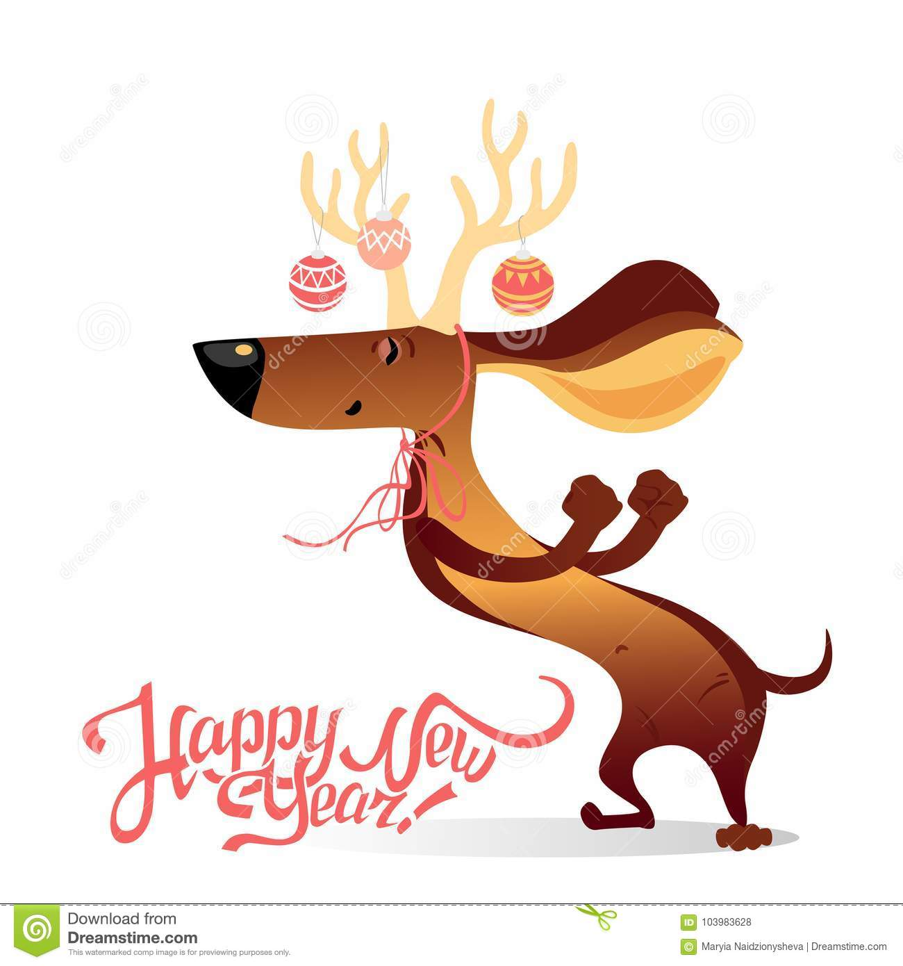 New Year`s Card With Funny Dancing Dog Stock Vector - Illustration ...
