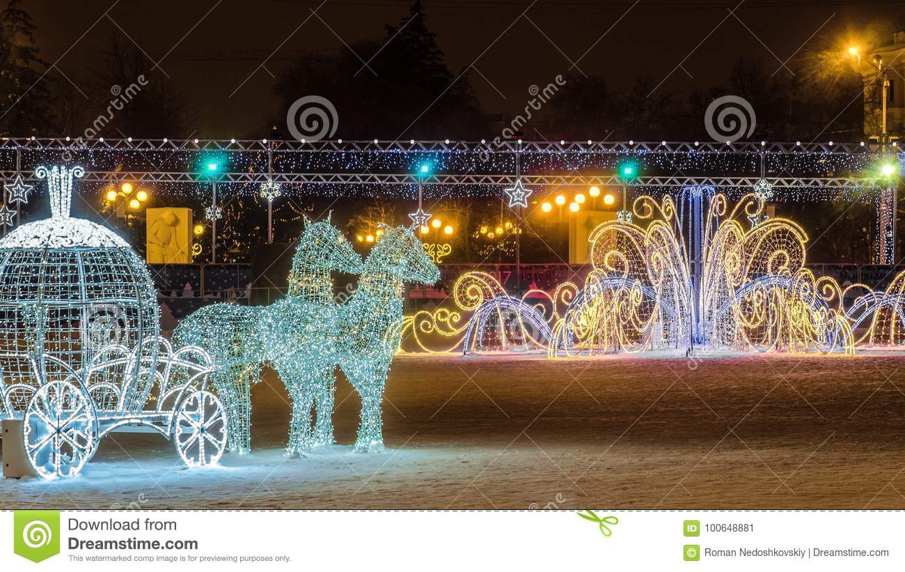 new years cathedral square with christmas decorations in the center of belgorod city - Christmas Lighted Horse Carriage Outdoor Decoration