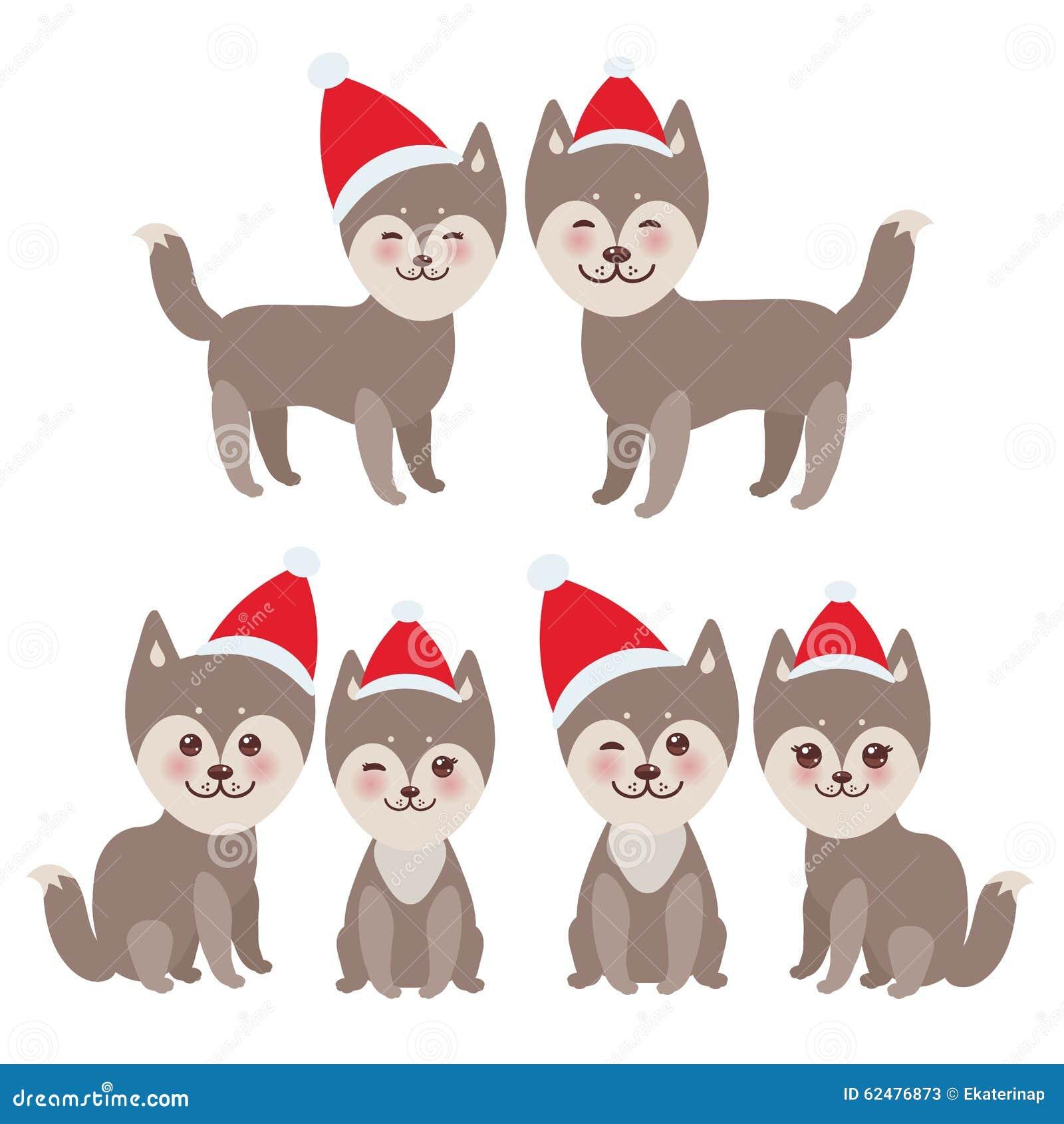 New Year\'s And Christmas Funny Brown Husky Dog Stock Vector ...