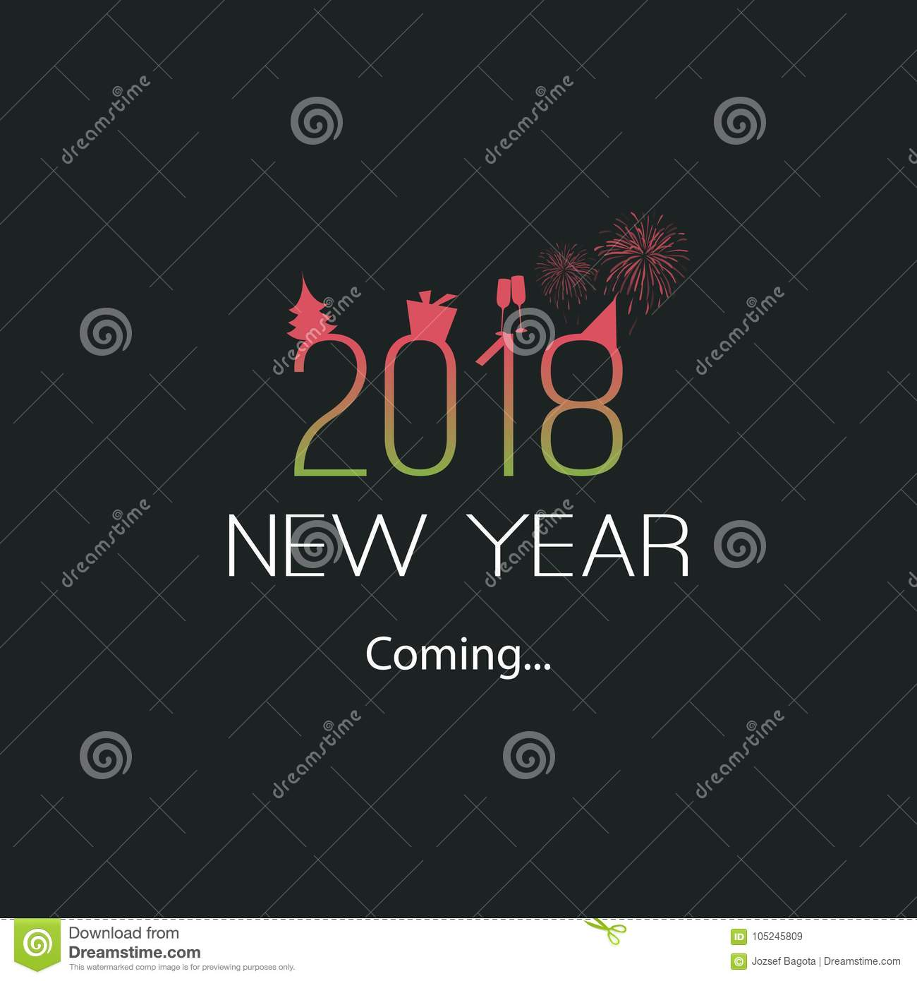 new years coming 2018 modern minimal style greeting card typography concept