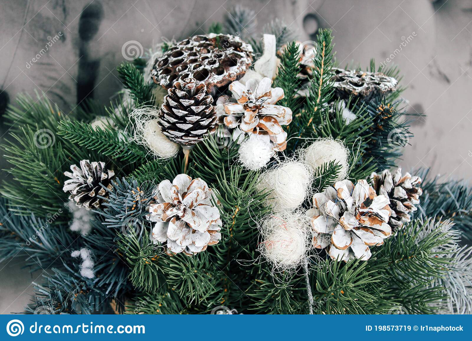 New Year S Composition Of Dried Lotus Flowers Cones And Spruce Branches Diy Bouquet For Christmas Stock Image Image Of Decor Branches 198573719