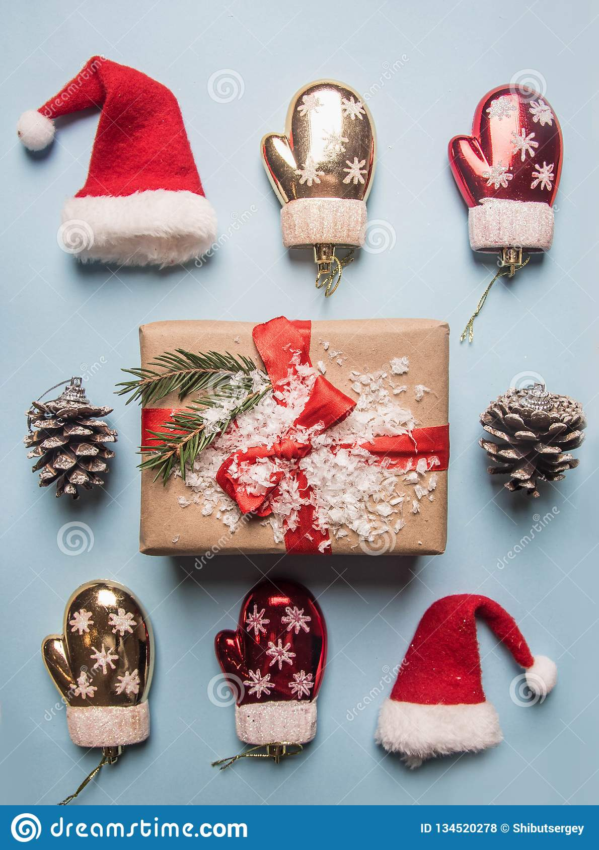 New Year`s Concept, A Box With A Gift, Christmas-tree ...