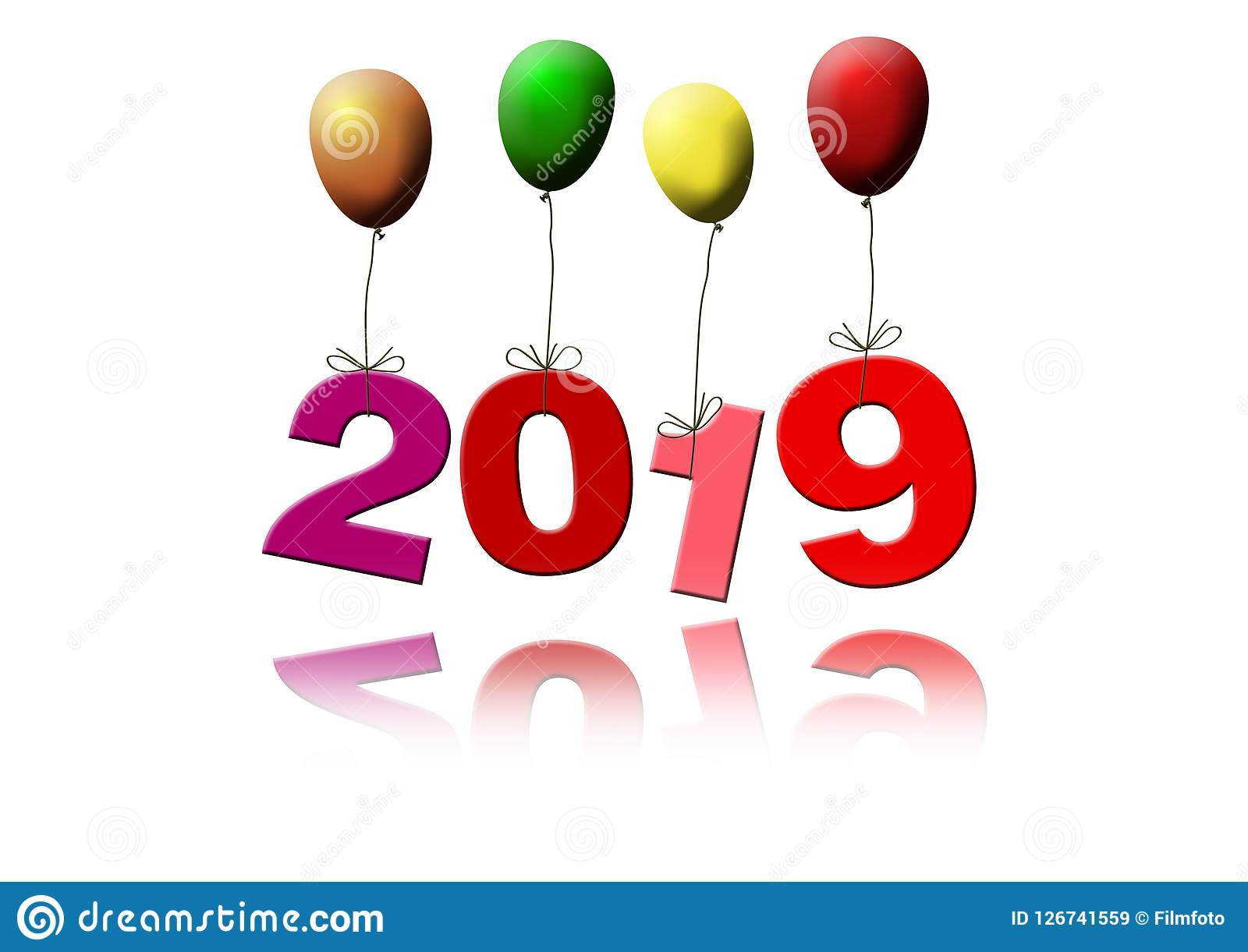 New Year`s Date 2019 Flying With Colorful Balloons