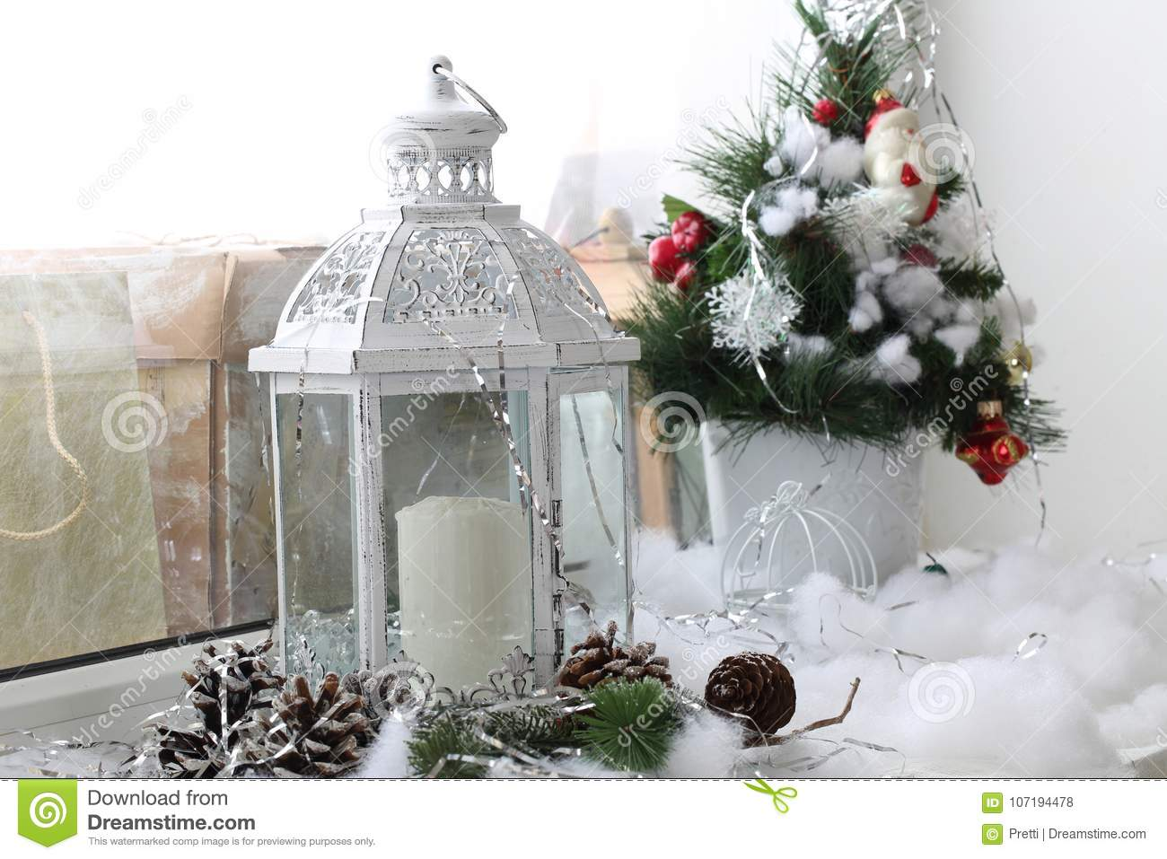 christmas decoration on window sill new years decor on the windowsilln - Window Sill Christmas Decorations