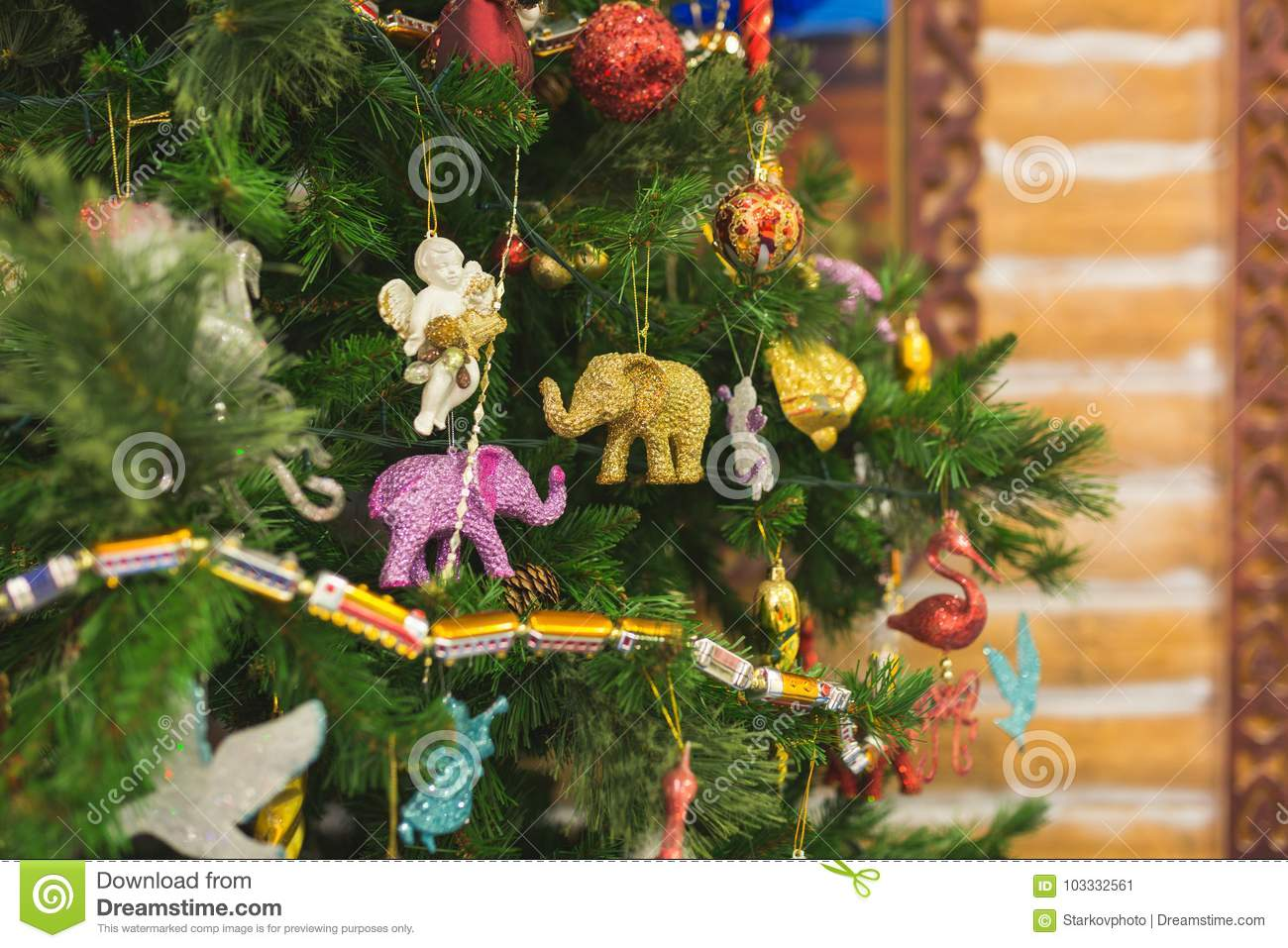 Branches Of A Christmas Tree With Beautiful Decorations On A Blurred Background. Stock Image ...