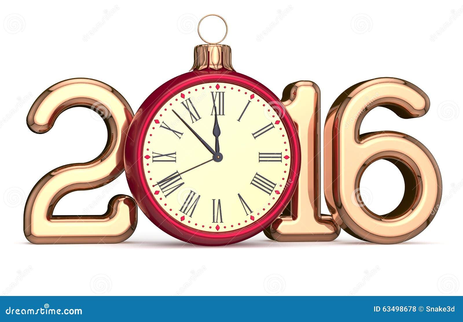 New Year's Eve 2016 clock Christmas ball bauble decoration Xmas happy ...