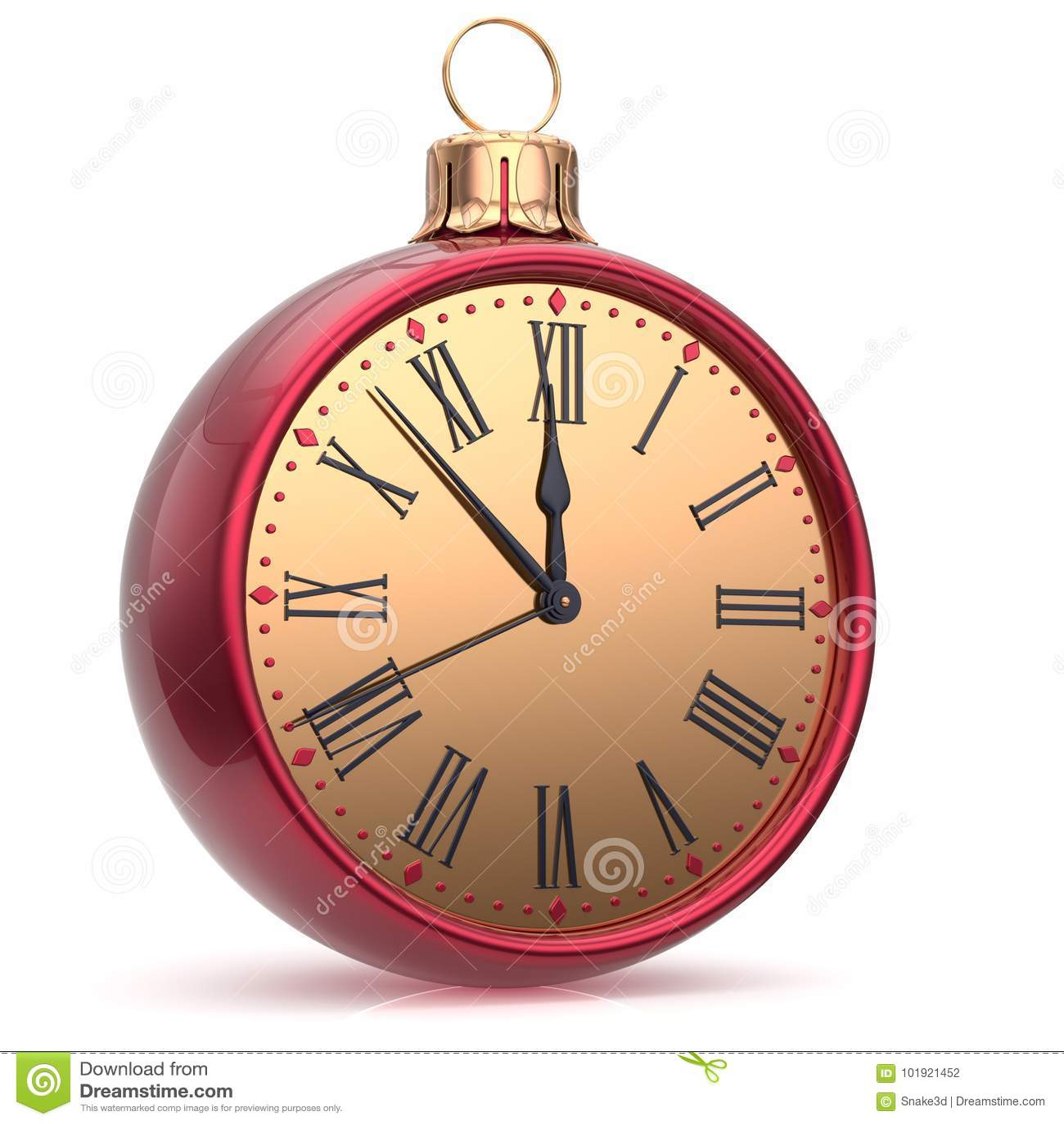 New Year`s Eve Clock Countdown Christmas Ball Midnight ...
