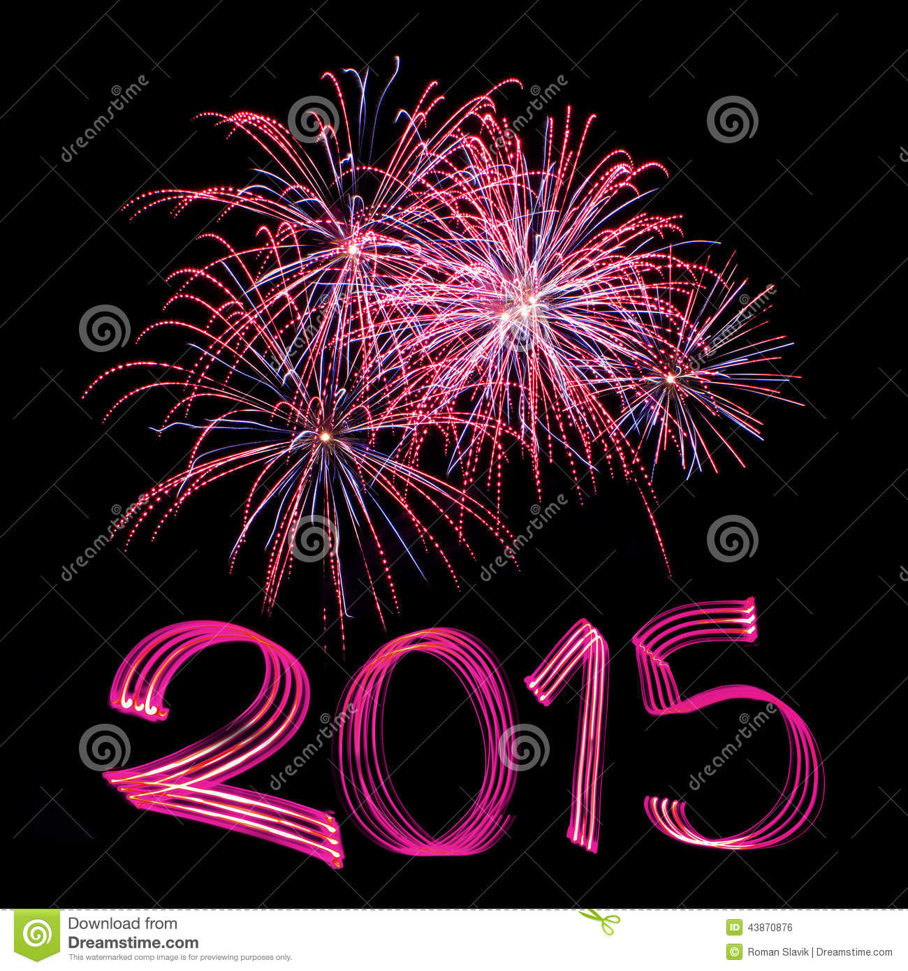 new years eve 2015 with fireworks stock photo image