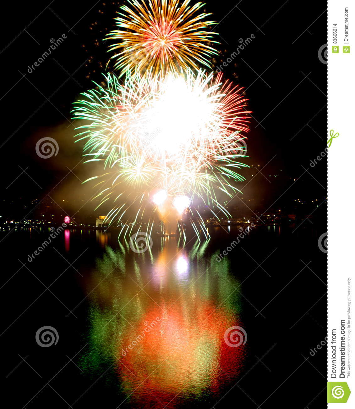 Denver New Years Fireworks6 By Niel4: New Year`s Eve Fireworks Big Bang Stock Photo