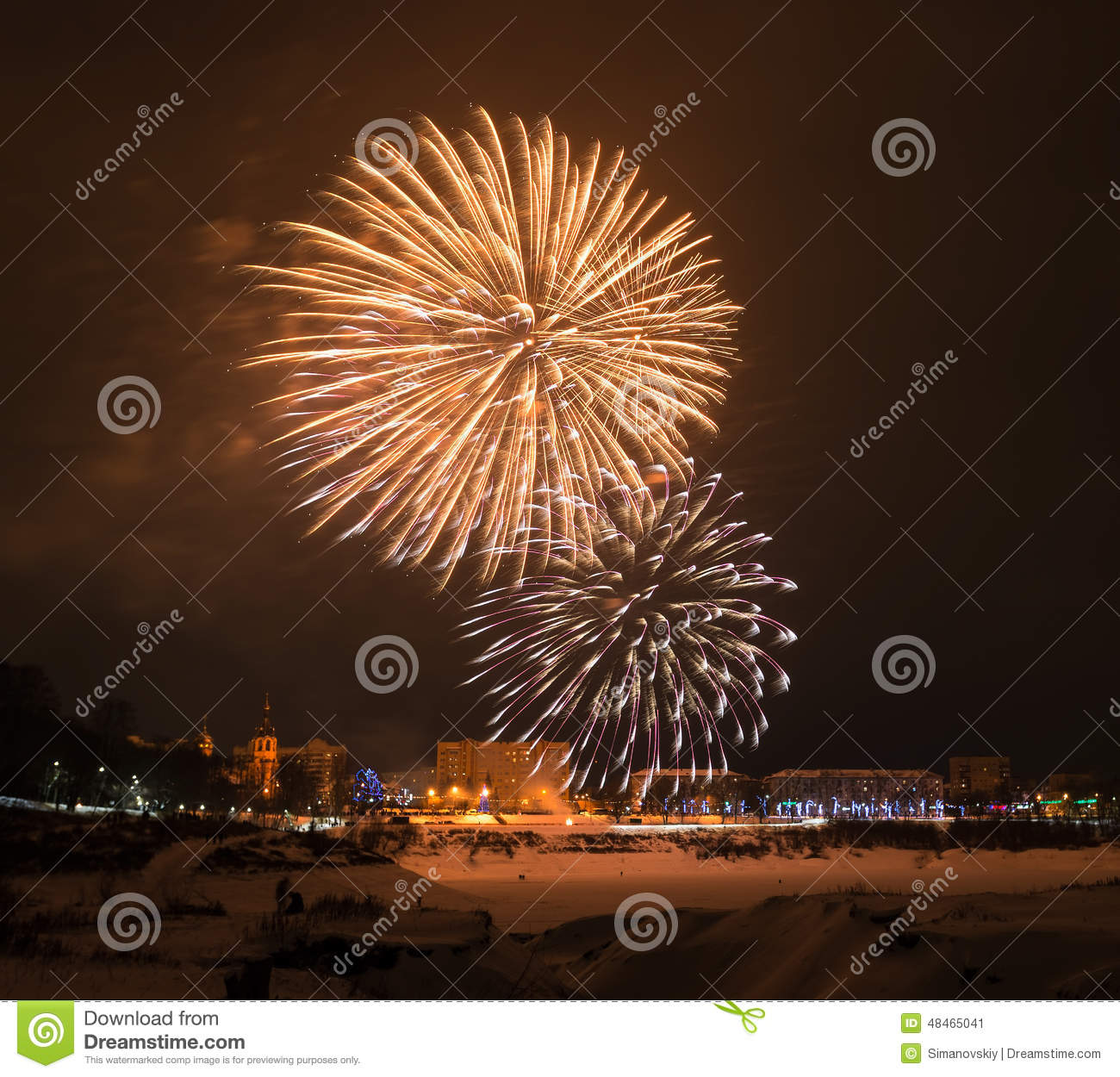 Denver New Years Fireworks6 By Niel4: New Year's 2015 Eve Fireworks. Stock Photo