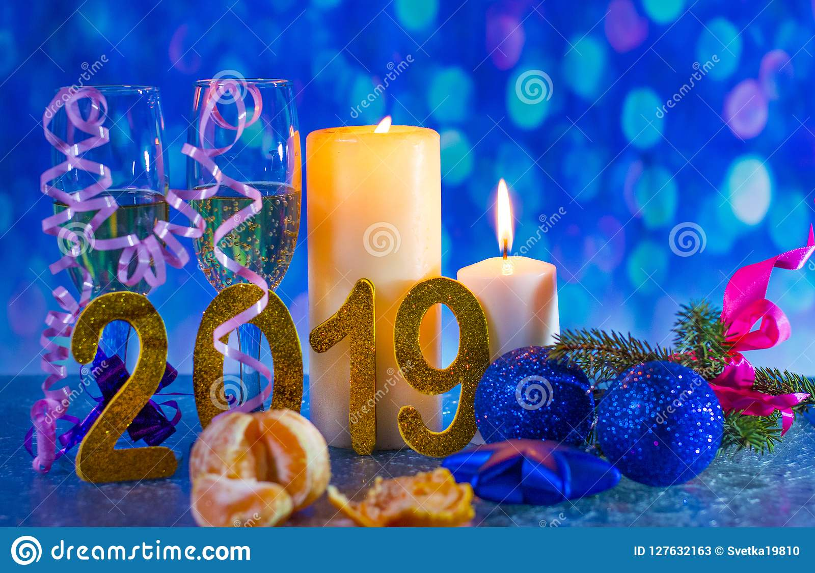 Christmas Eve 2019 New year`s eve 2019. stock image. Image of numbers, spruce   127632163