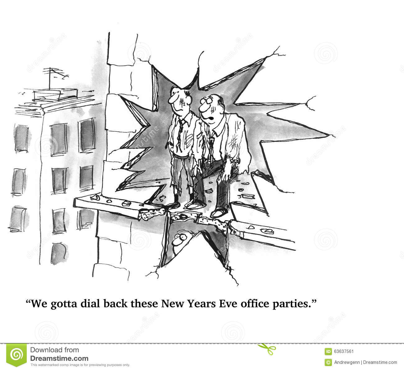 New Year's Eve Office Party Stock Illustration