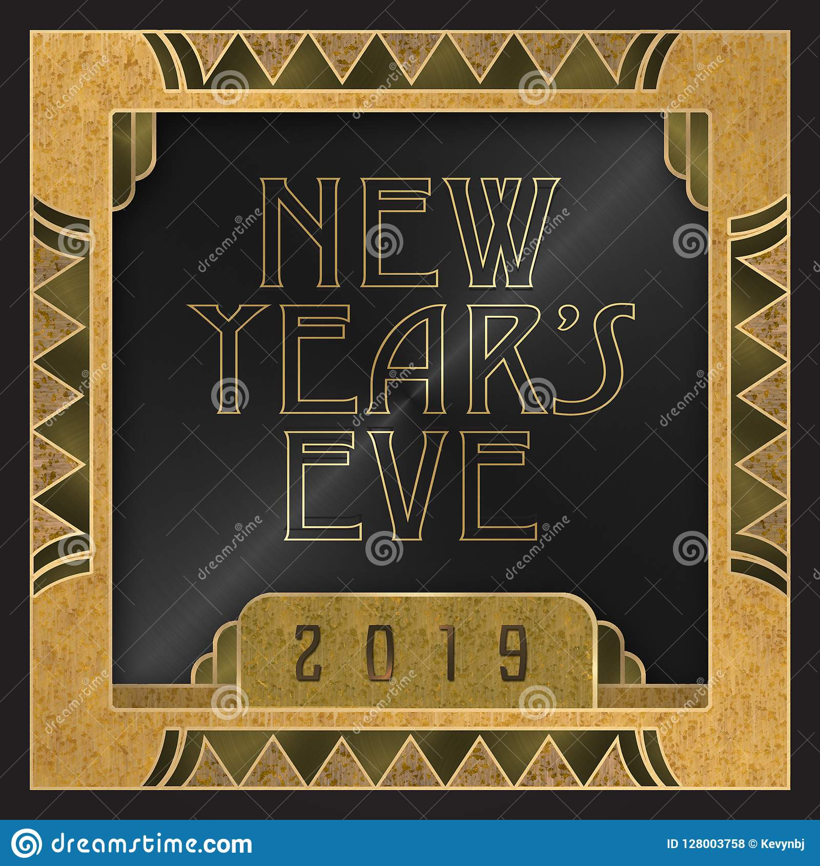New Year S Eve Party Invitation 2019 Art Deco Style Stock