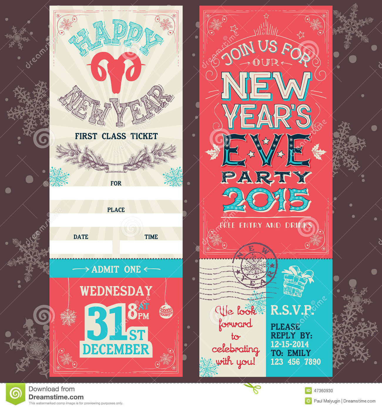 Christmas Party Ticket Template Free: New Year's Eve Party Invitation Ticket Stock Vector
