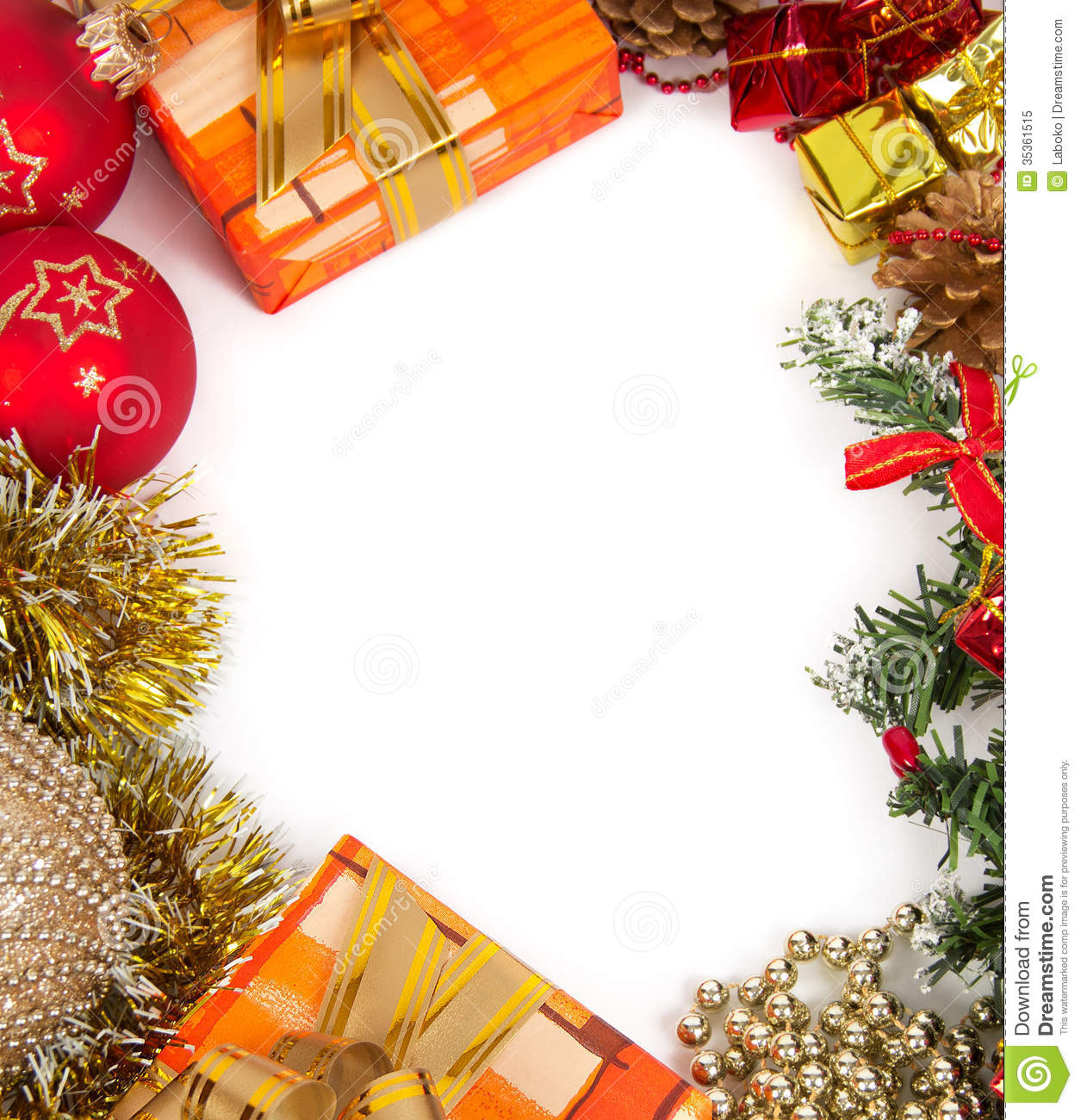 New Year\'s frame stock image. Image of garland, ball - 35361515
