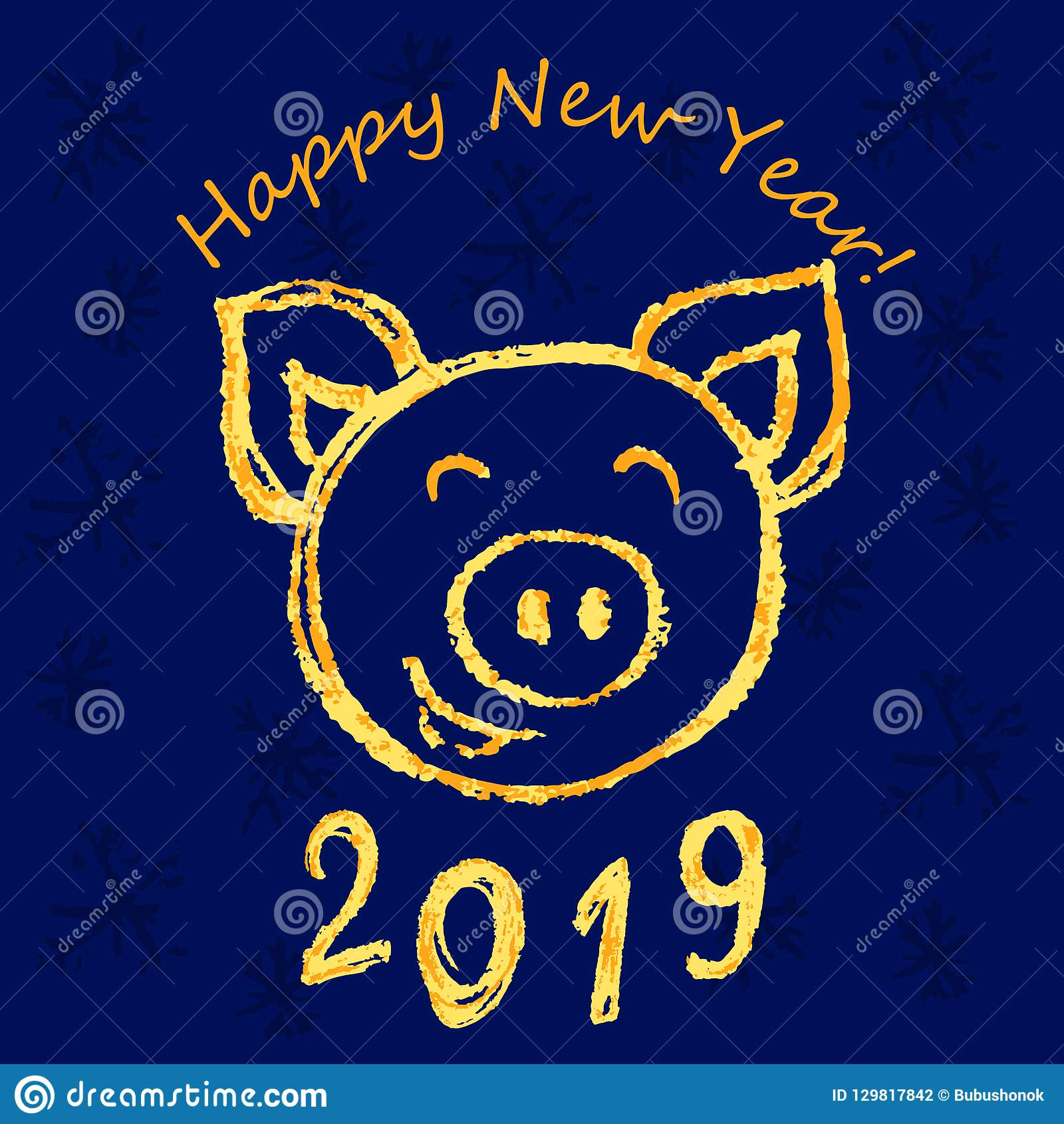 Happy New Year Stock Vector Illustration Of Chalk China