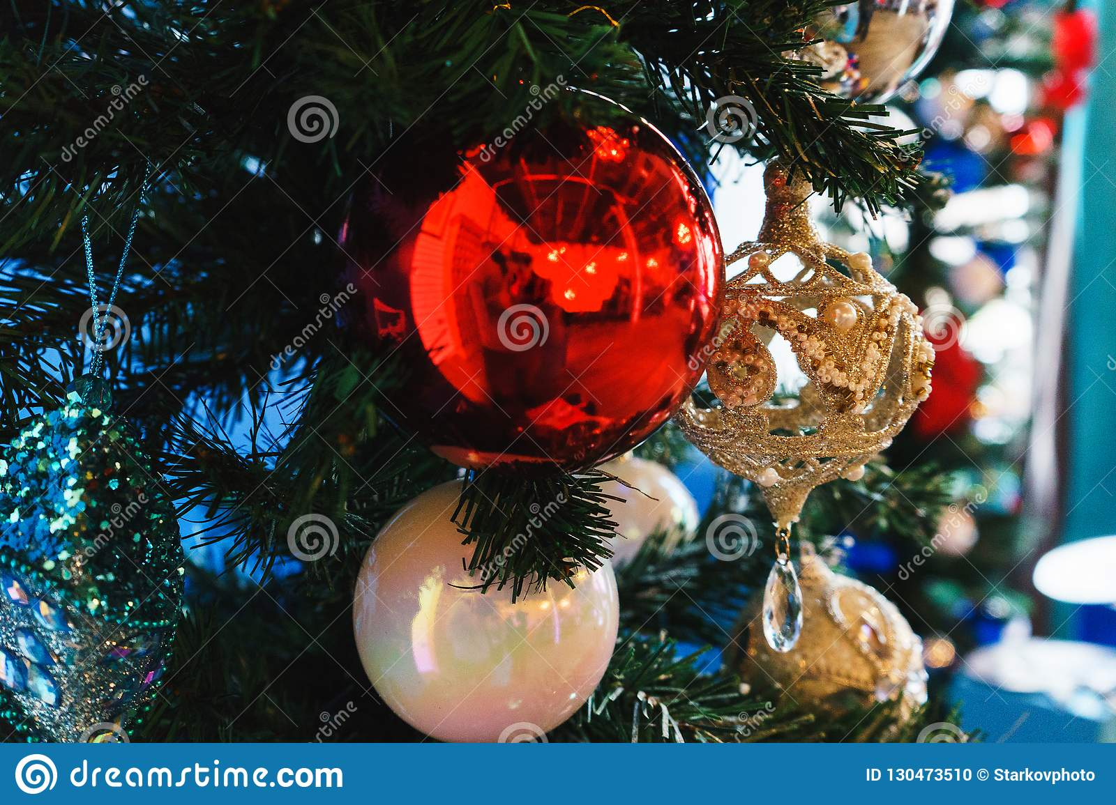 New Year`s Holiday Decor On The Firs Decorated For The ...
