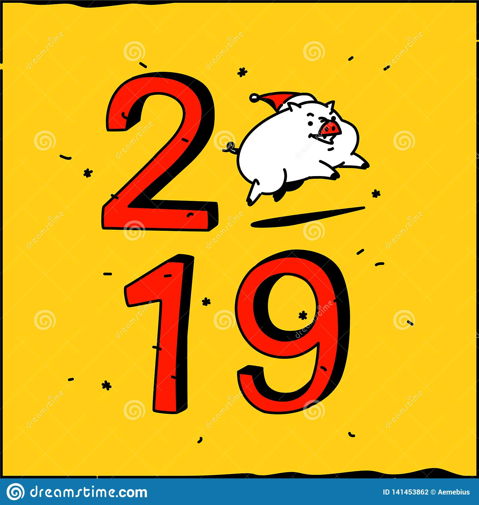 New year's illustration of a cartoon pig with the inscription 2019. Vector. The illustration is isolated on a yellow
