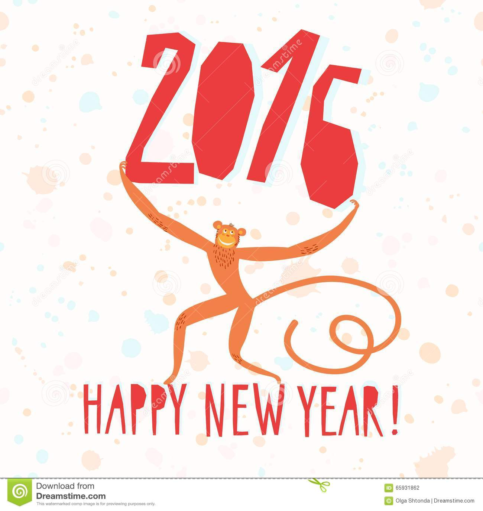 New Year\'s Monkey Illustration Stock Illustration - Illustration of ...