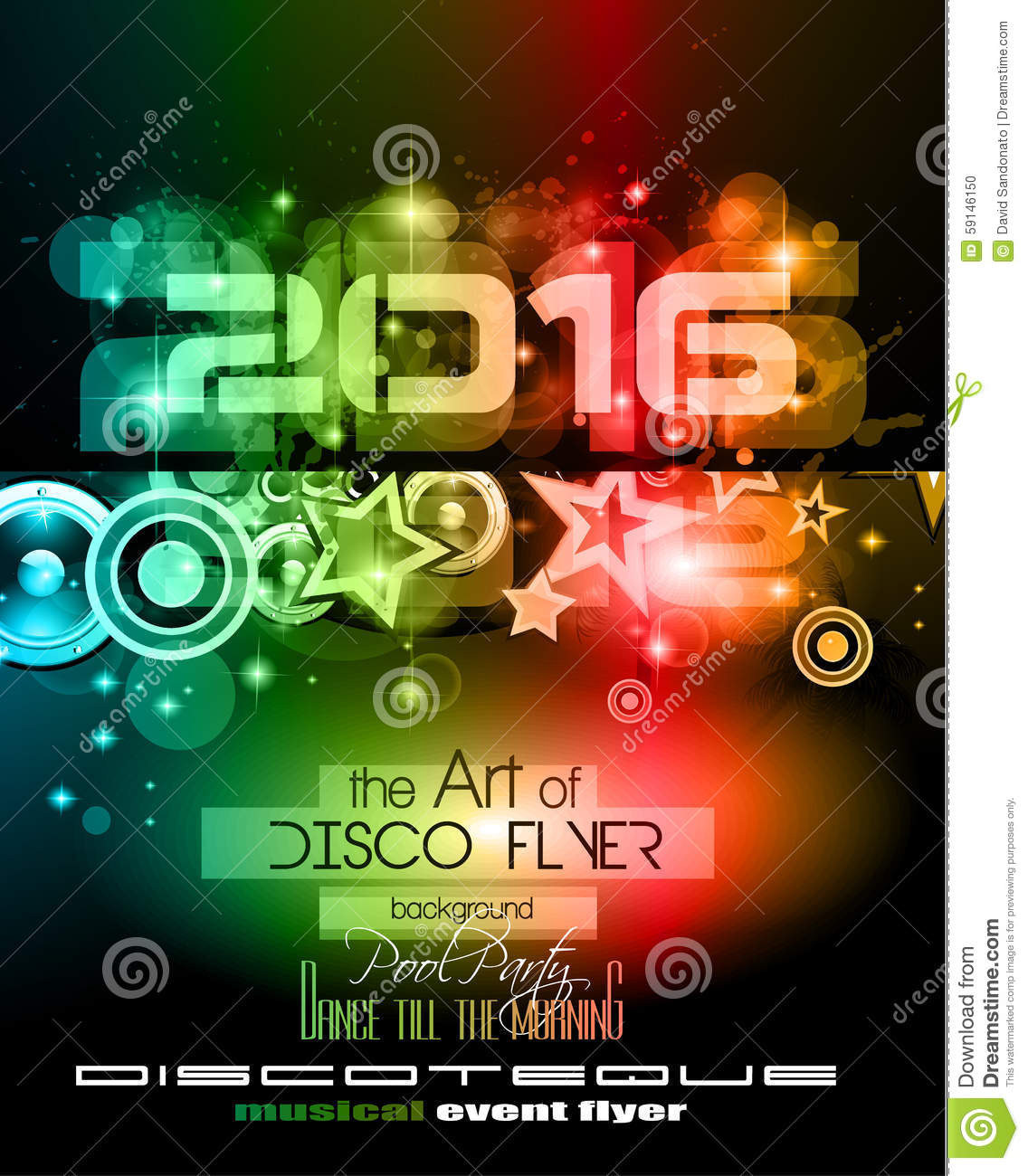 2016 new year s party flyer for club music night special events