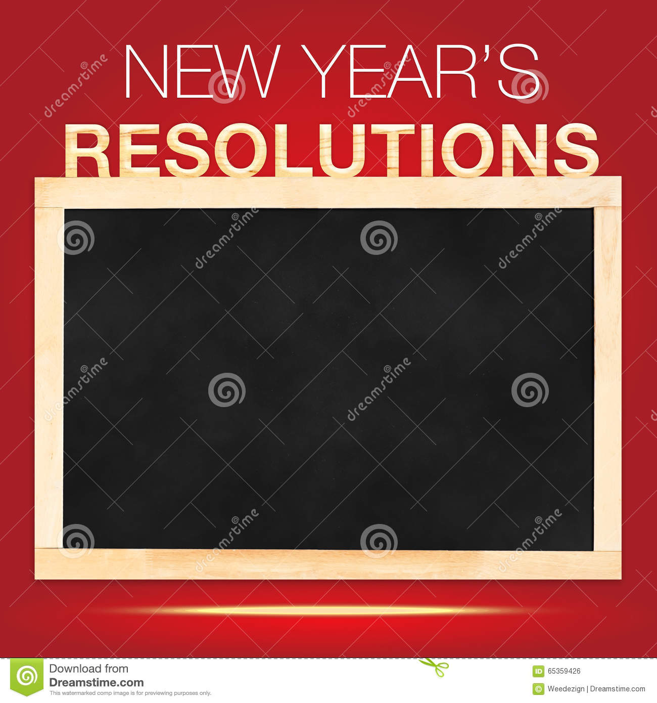 new years resolutions goals list on blackboard with red background template mock up for adding your content