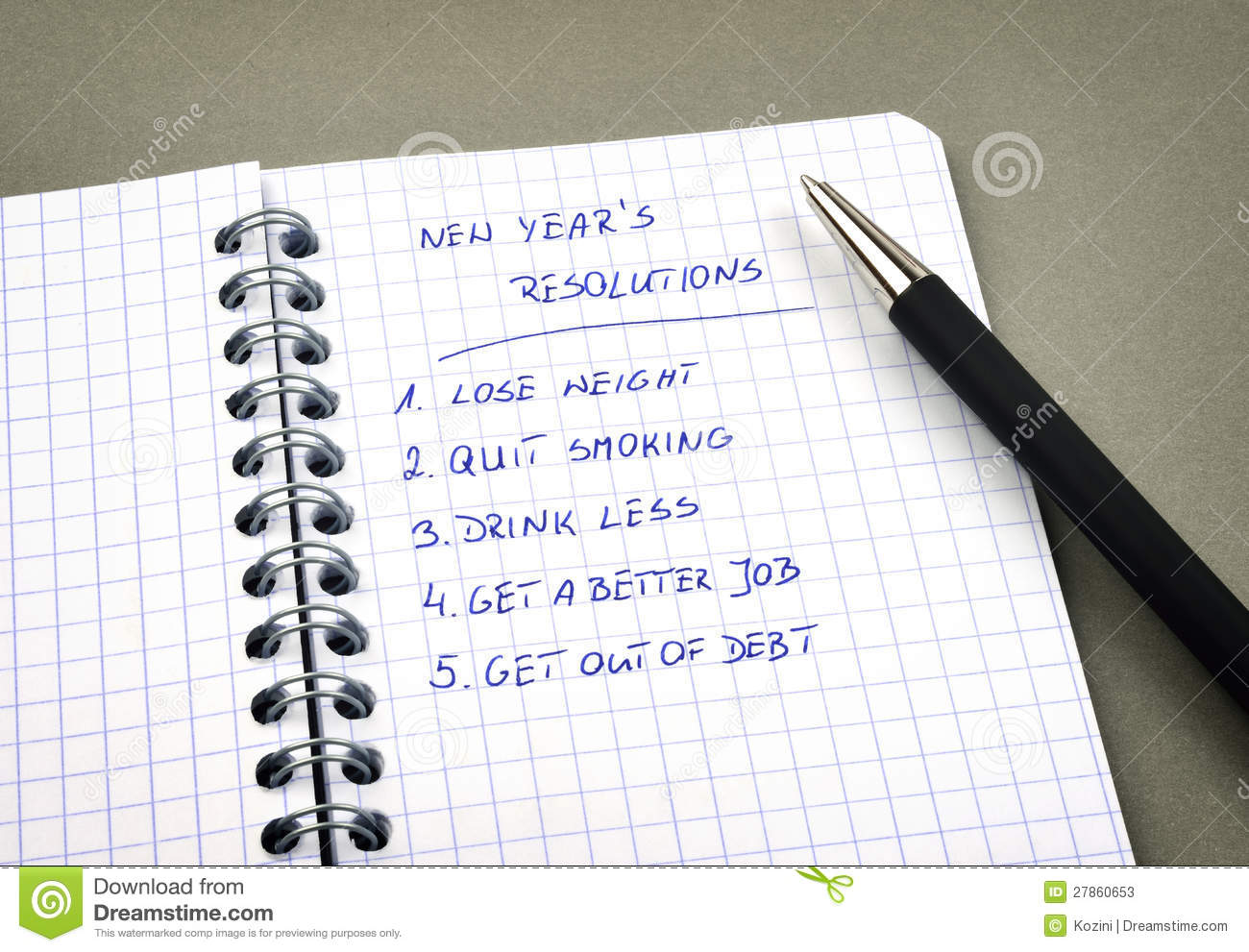 New Year s resolutions listed