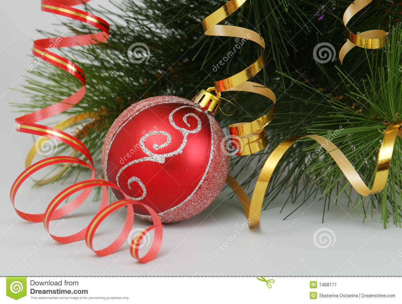 The New Year s sphere and fur-tree branch are on a