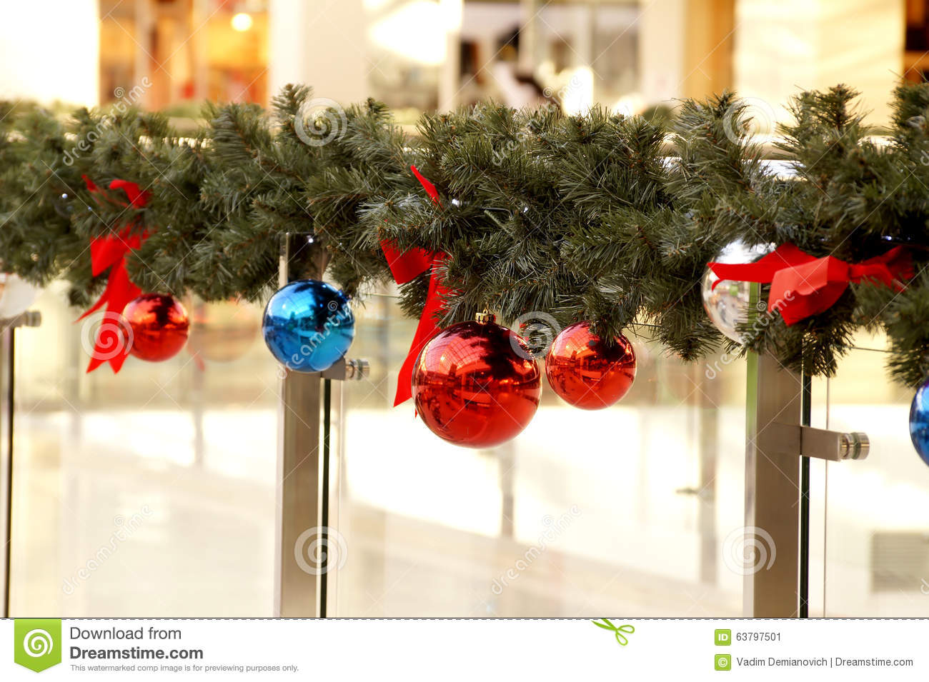New year 39 s spheres on fir tree branches stock photo for Christmas decoration online shop