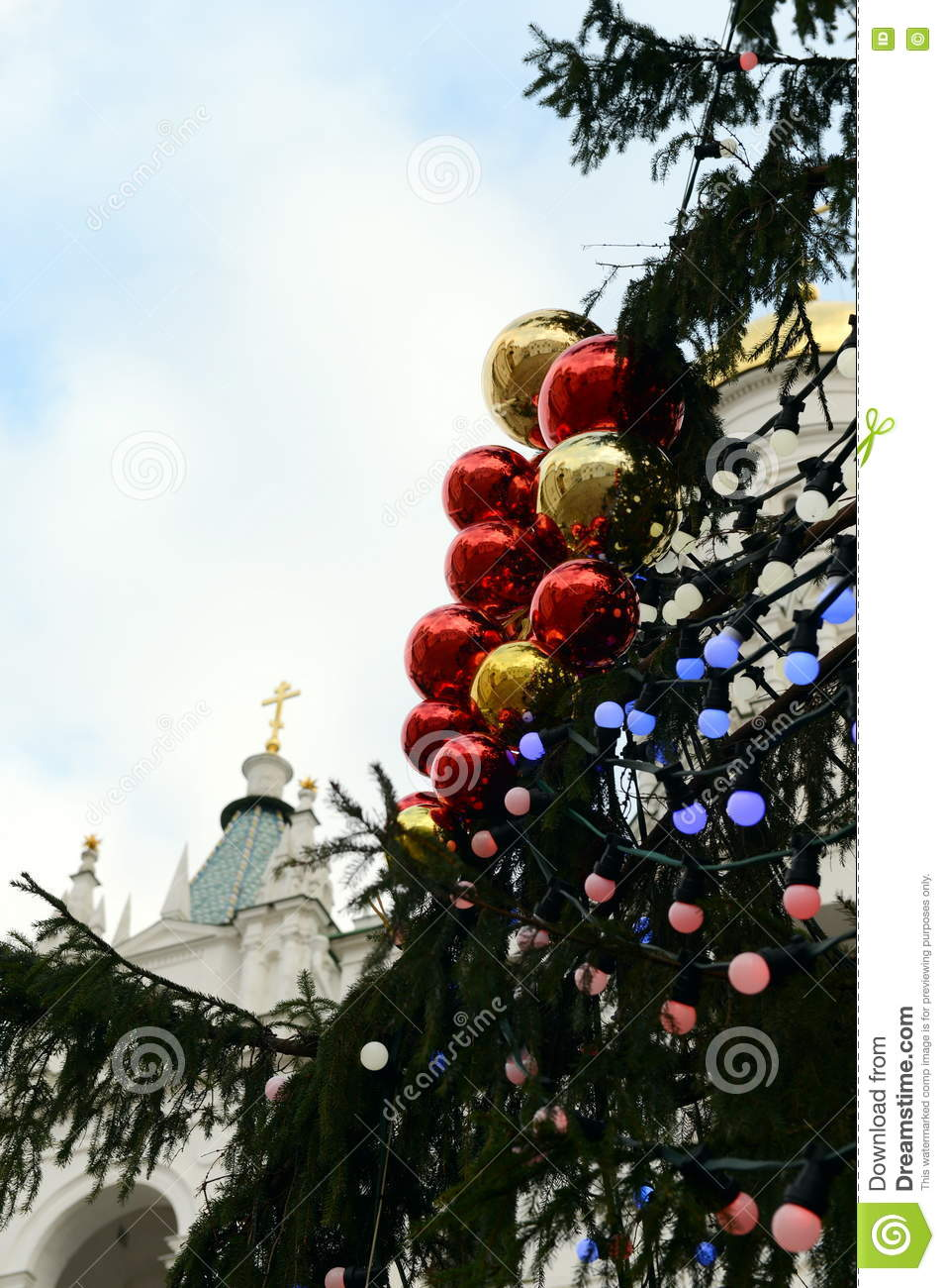 new year s toys on the main all russian christmas tree in the