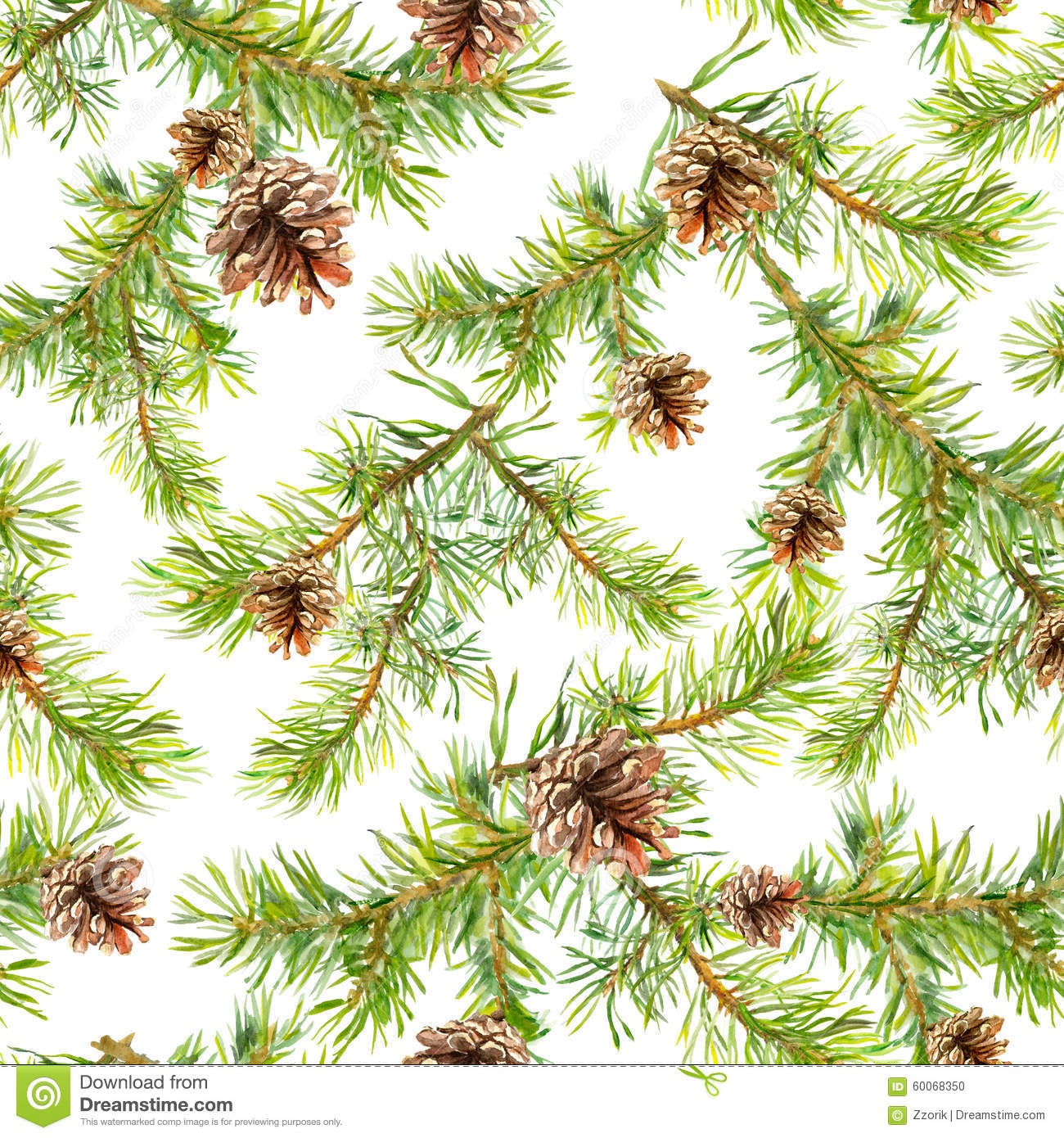 New Year Seamless Pattern With Branches Of Christmas Tree Stock Illustration - Image: 60068350