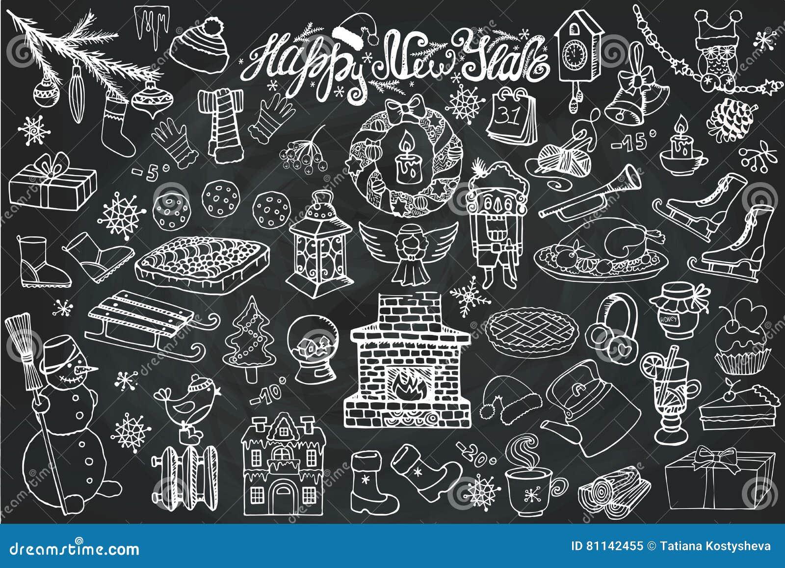 New Year Season Doodle IconssymbolsChalk
