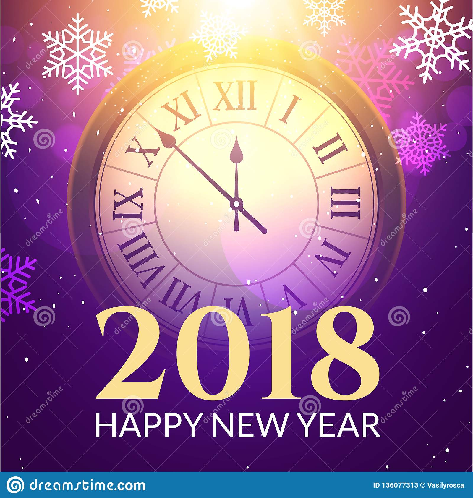 2018 New Year Shining Background With Clock. Happy New ...