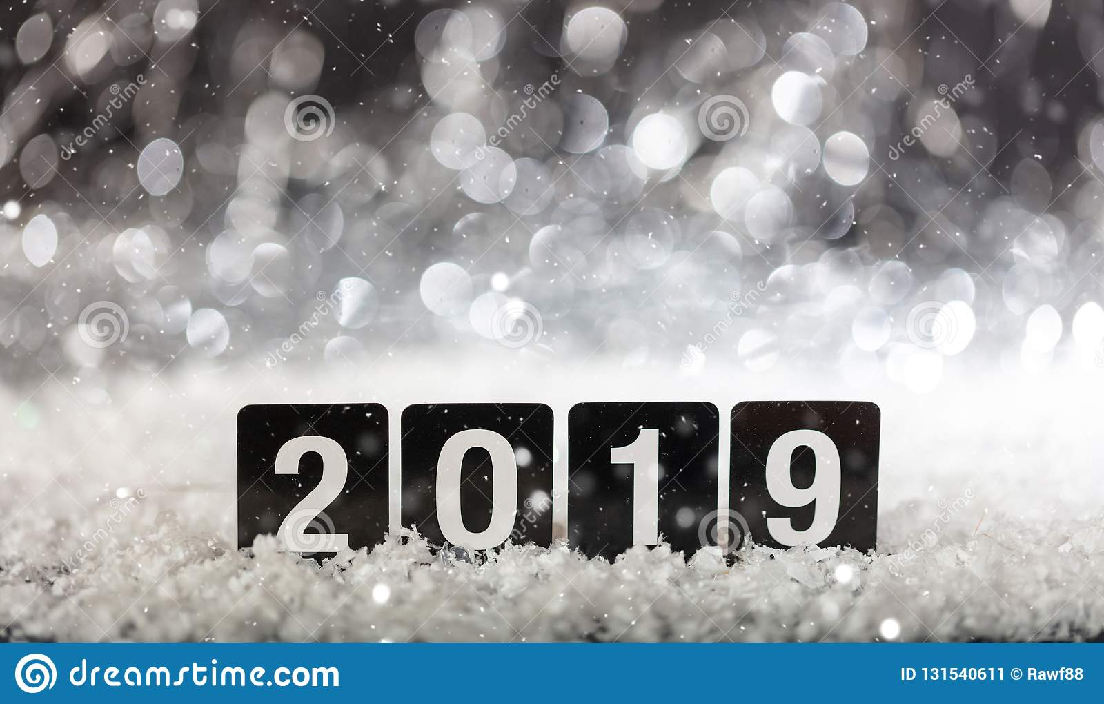 2019, new year on snow in the night