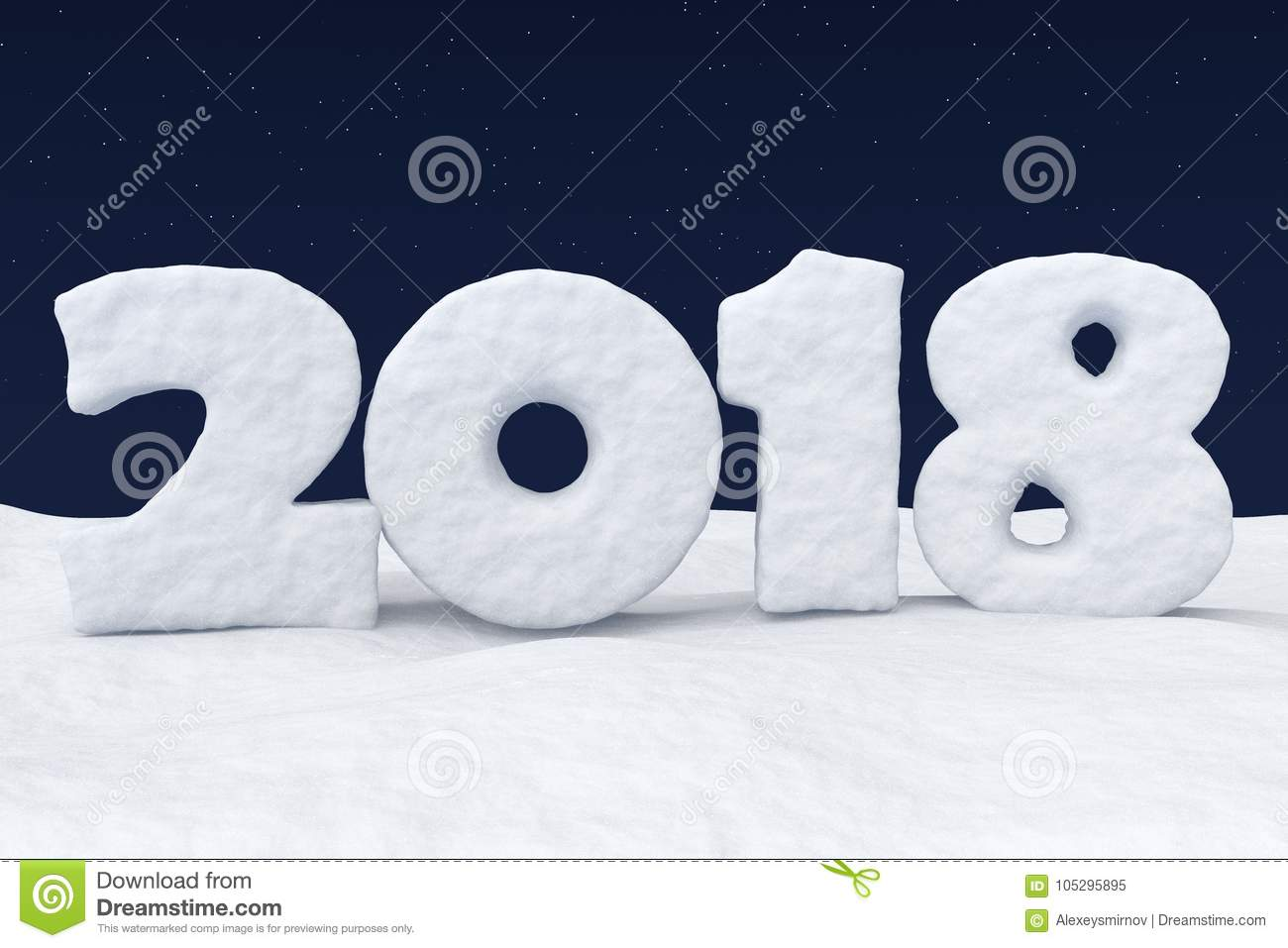 2018 New Year Snow Text On Snow Under Night Sky With Stars Stock
