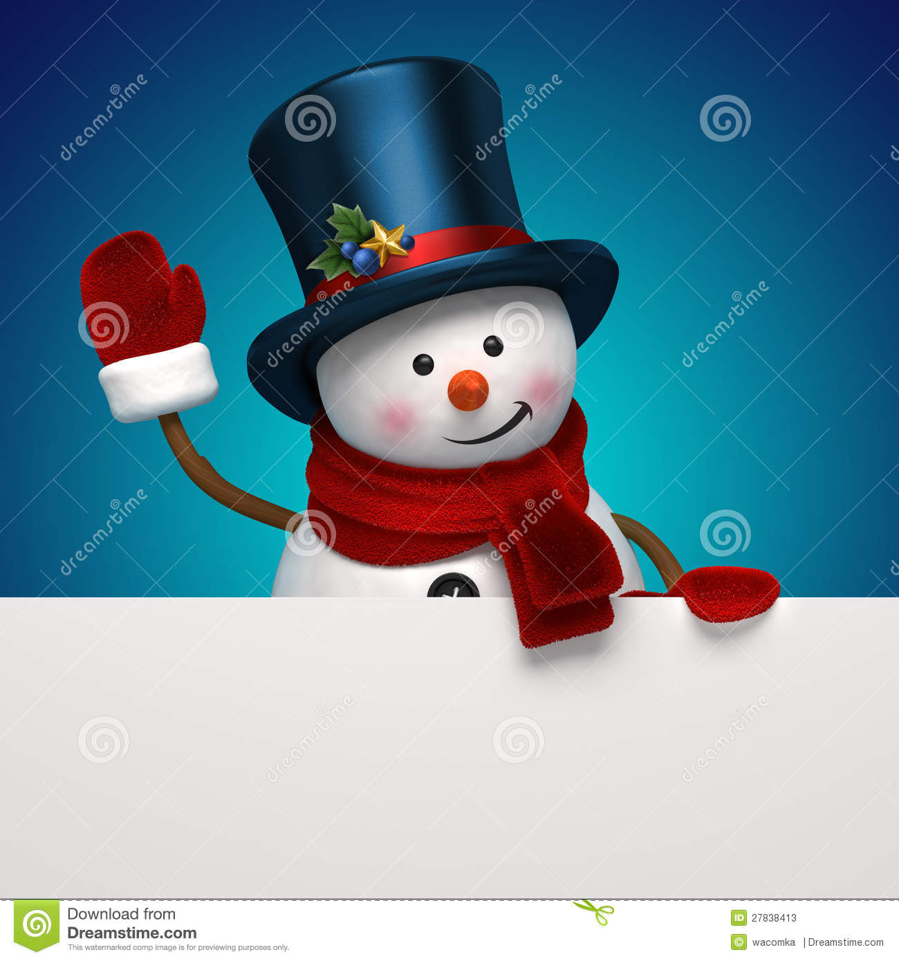 New year snowman hat greeting banner stock photos image