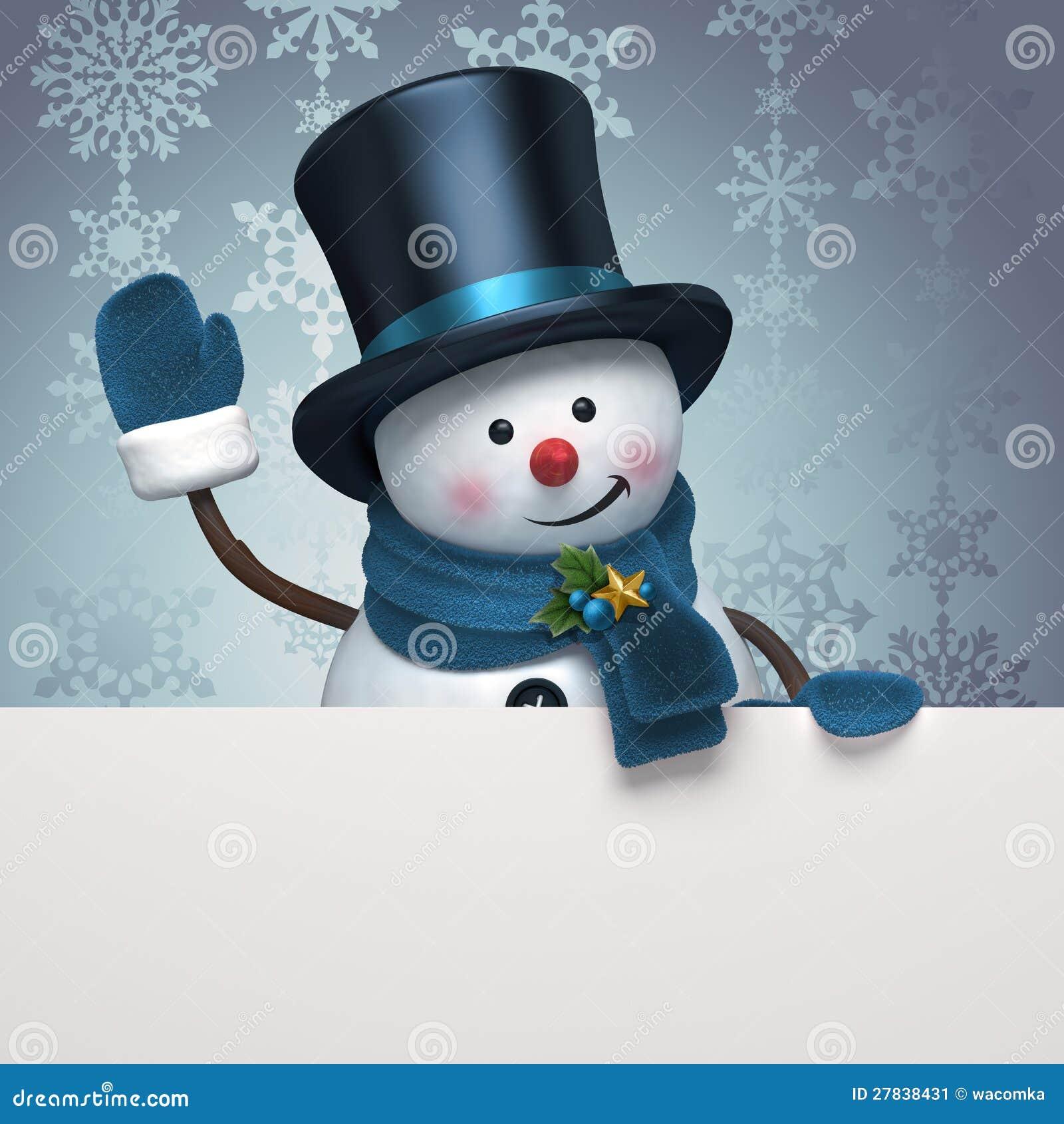 New year snowman hat greeting banner stock illustration