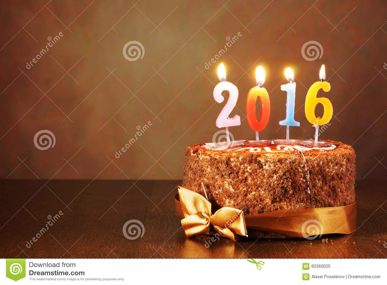 New Year Chocolate Cake Images : New Year 2016 Still Life. Chocolate Cake And Burning ...