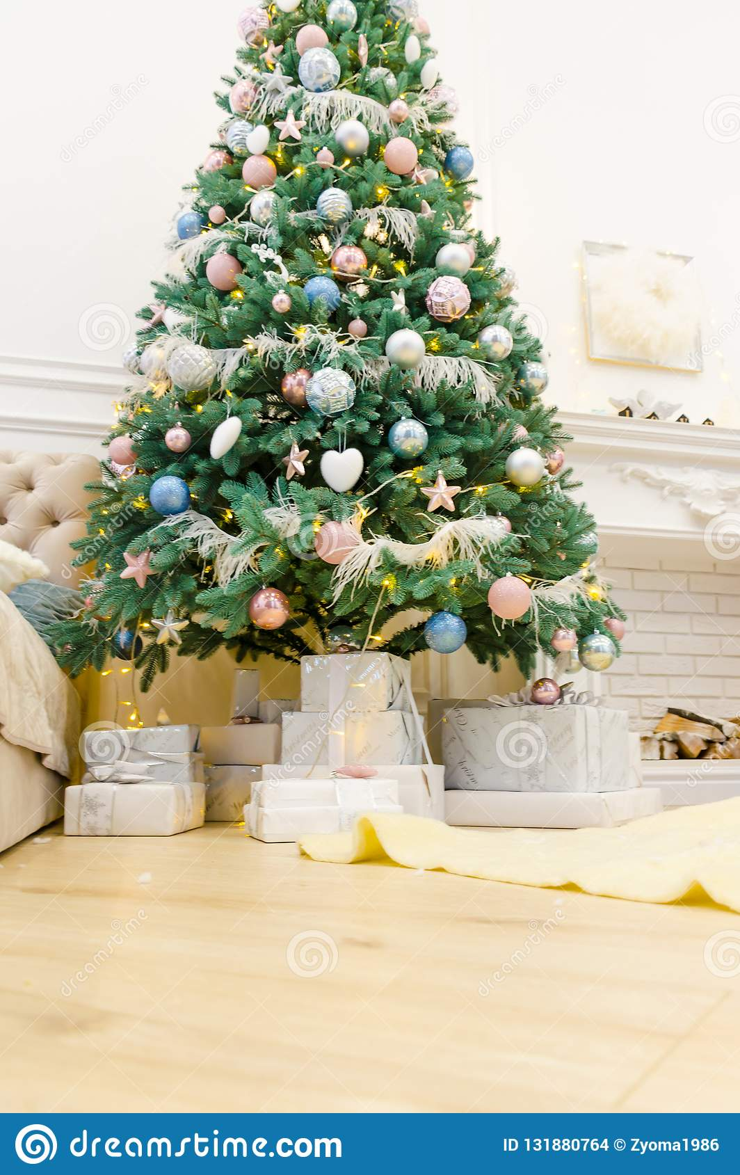 New Year Sweet Home Interior Design Decoration Stock Photo ...