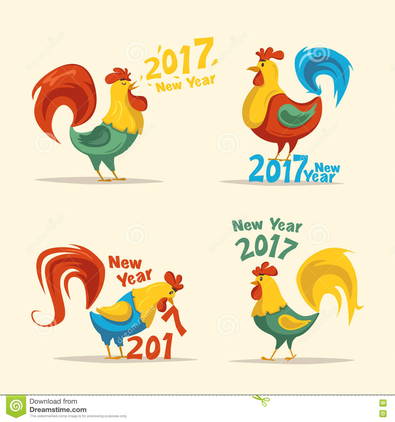 New Year Symbol Fire Rooster Cartoon Vector Illustration Stock
