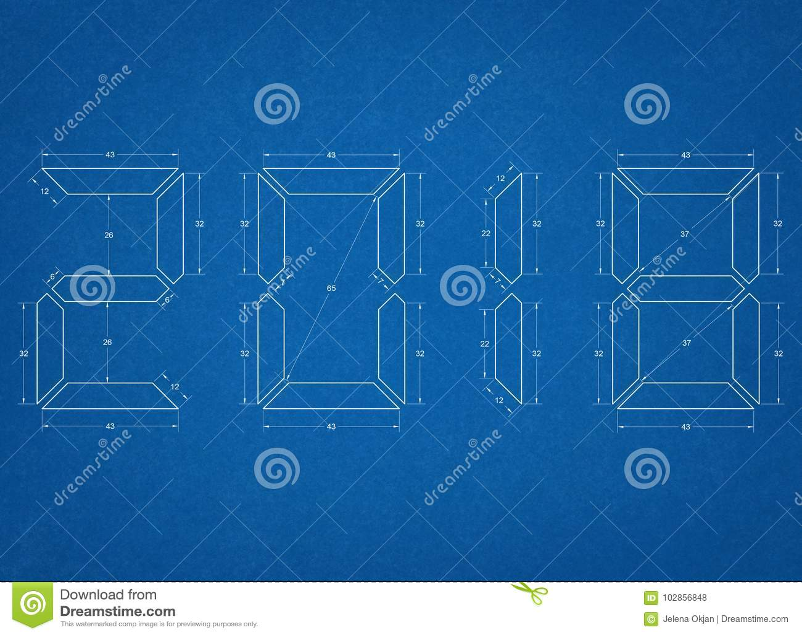 New Year Symbols Blueprint Stock Illustration Illustration Of