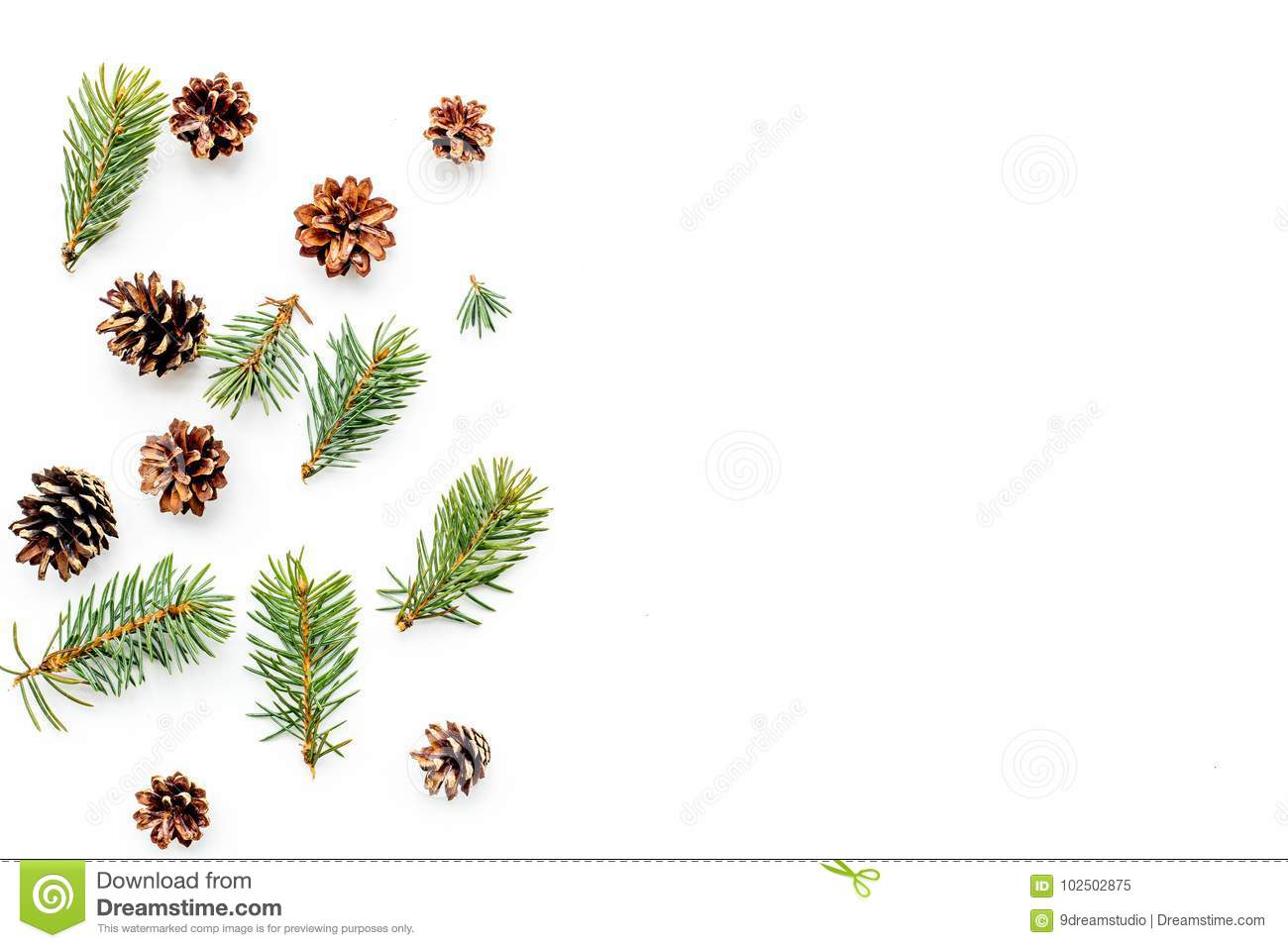 New Year Symbols Pattern Spruce Branches And Cones On White