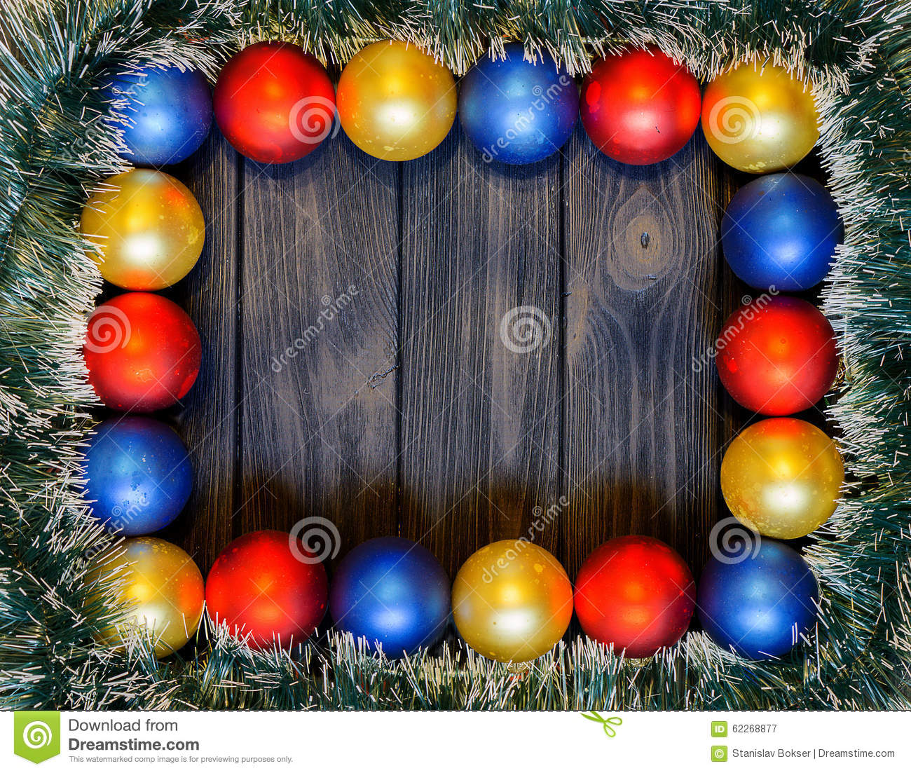 new year theme christmas decoration and balls on dark retro wood background