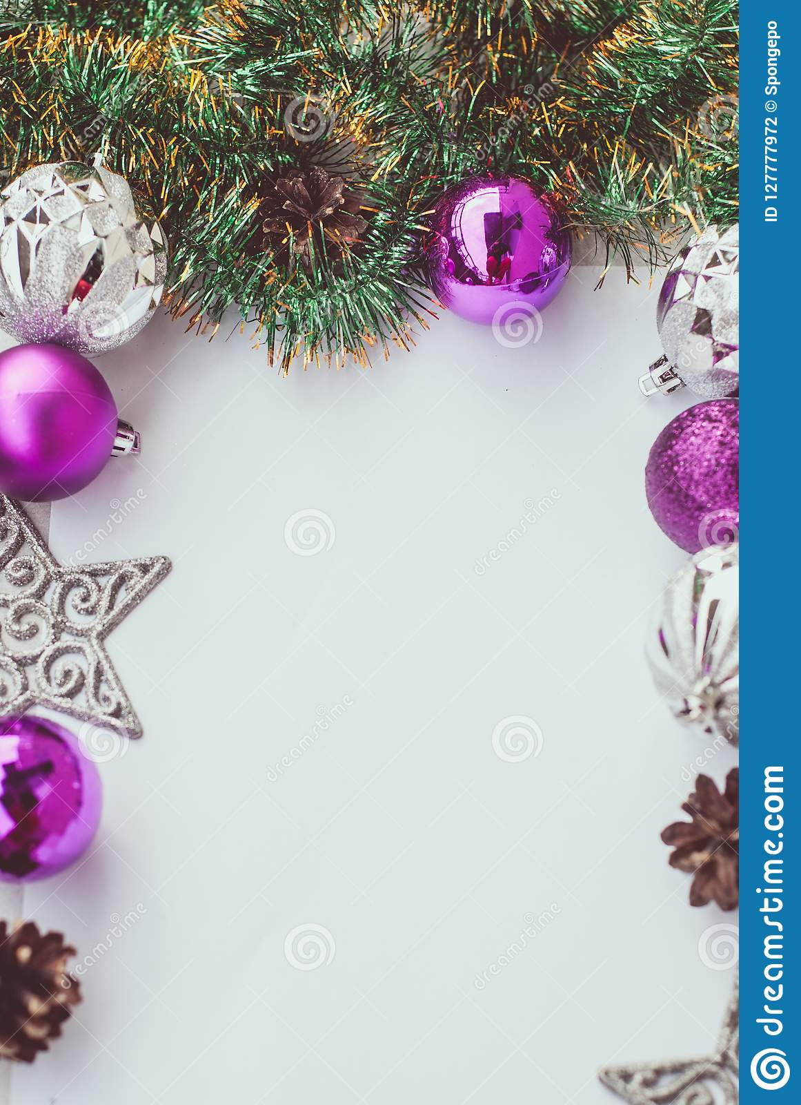 New Year Theme Christmas Tree Purple And Silver Decorations Balls On White Retro Wood Background Stock Photo Image Of Pattern Merry 127777972