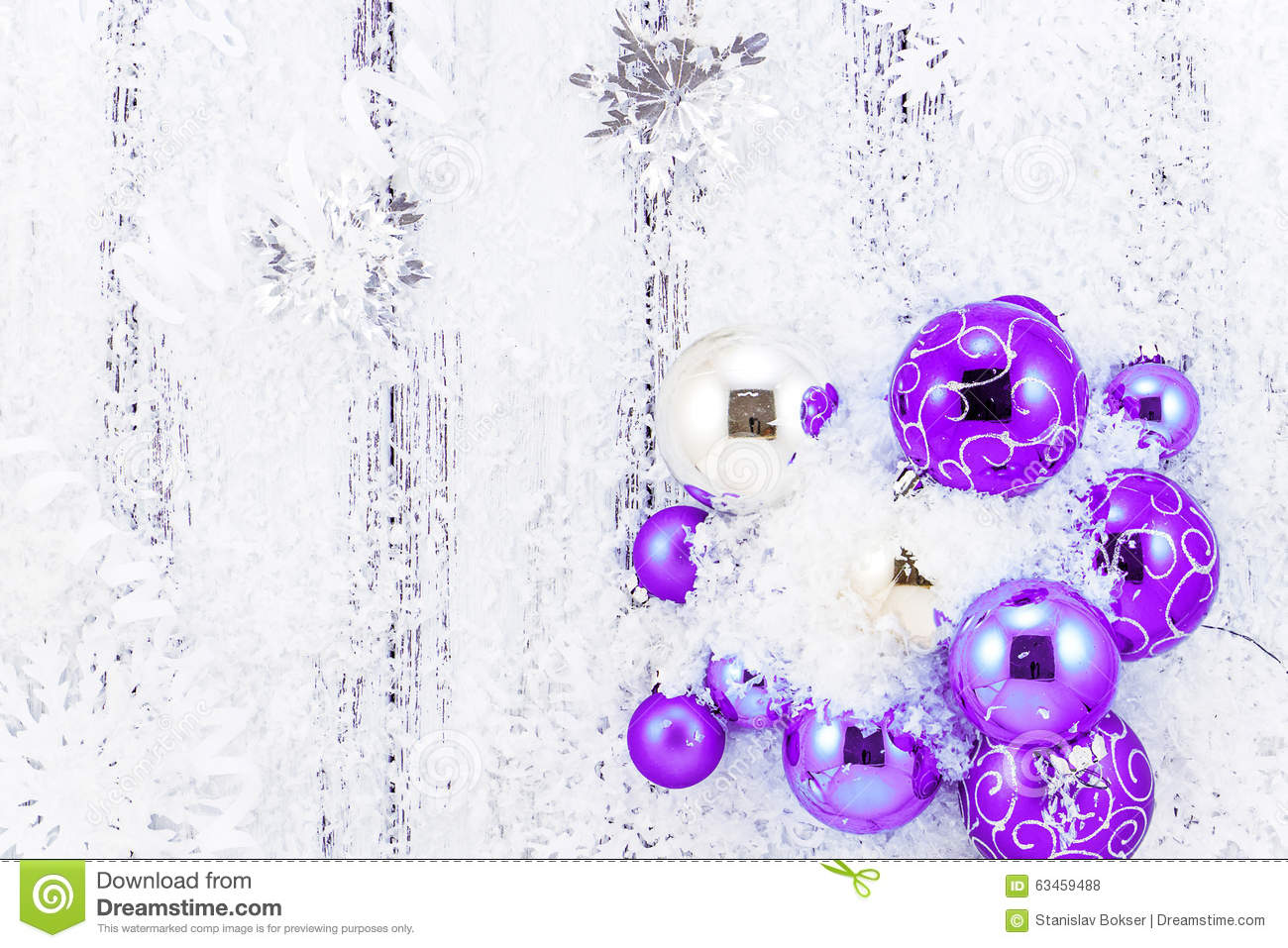 download new year theme purple and silver christmas tree balls snow snowflakes